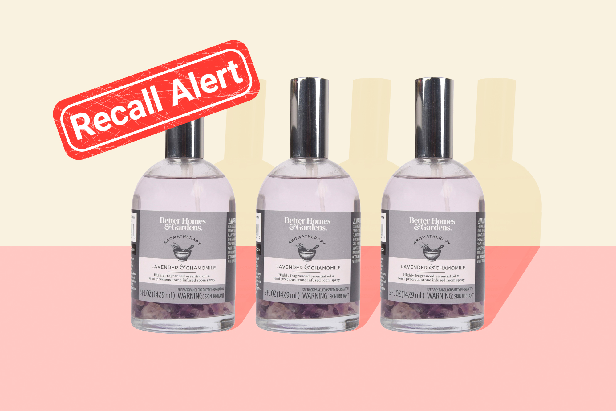Better Homes & Gardens UPC 84140411420 Lavender and Chamomile on a designed background wih a recall button in the back