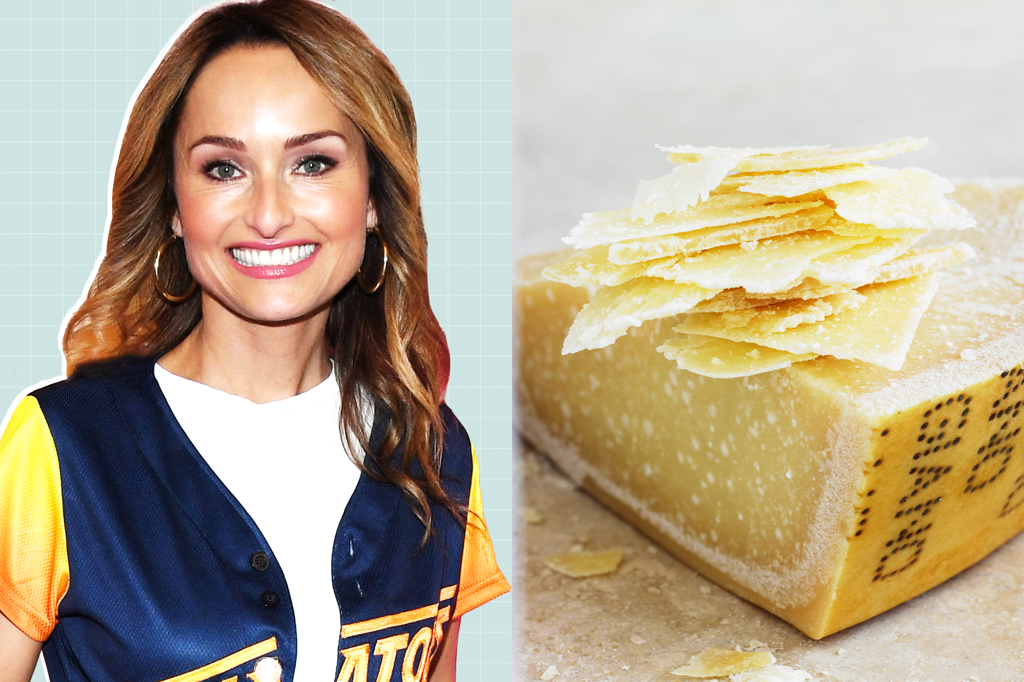 Giada De Laurentiis on a designed background next to a picture of Parmesan cheese