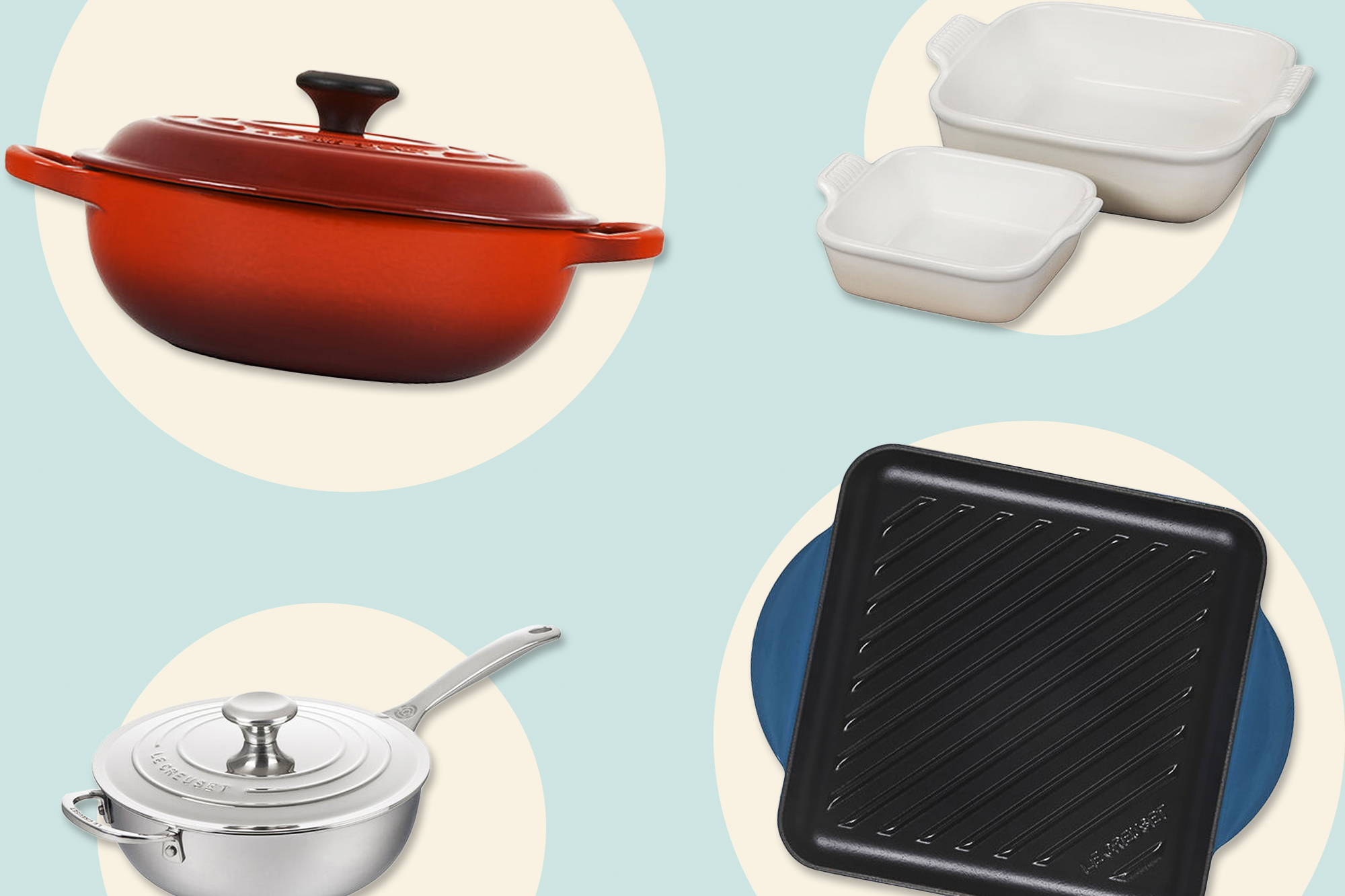 4 Le Creuset products on a designed background