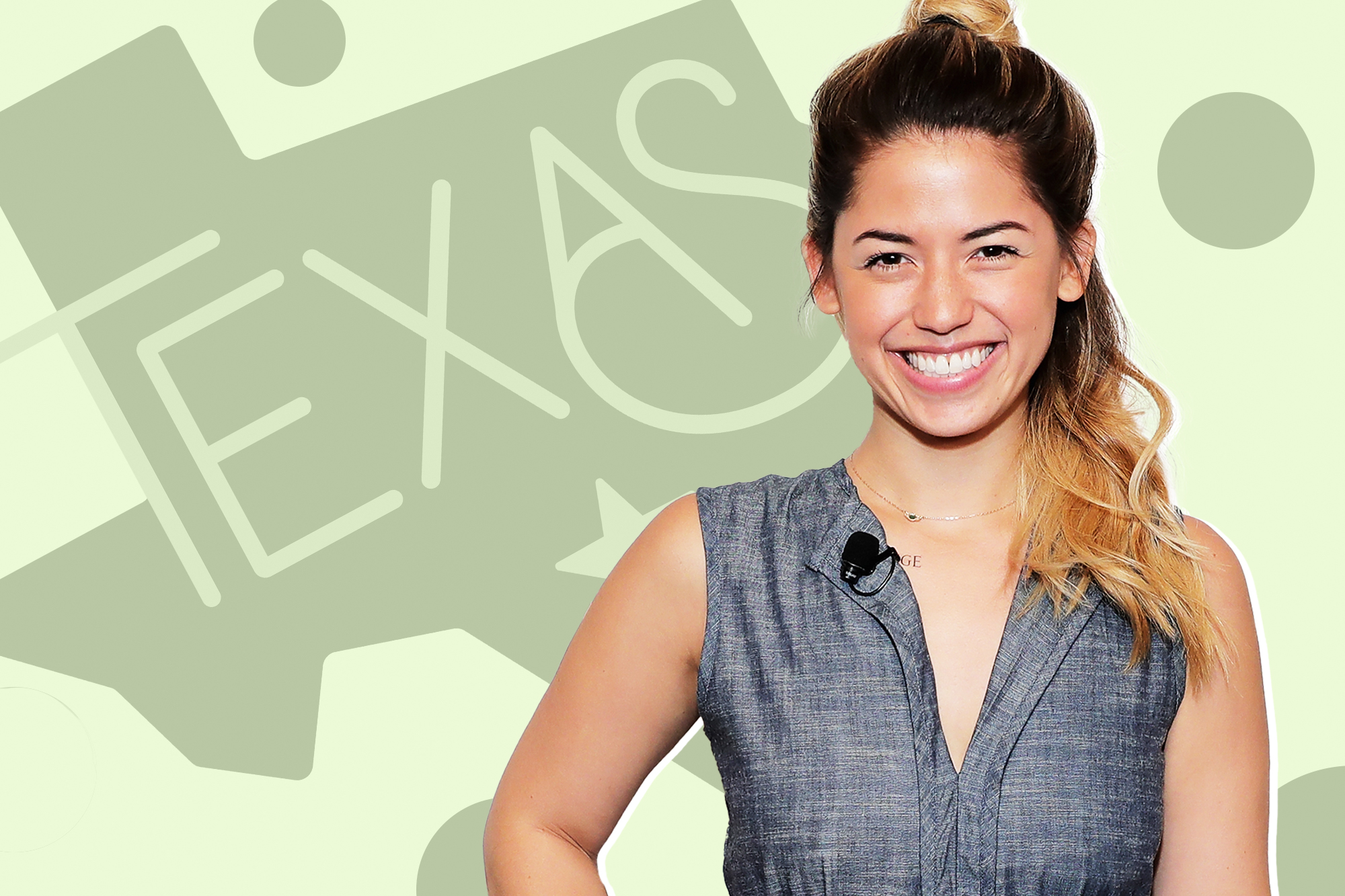 Molly Yeh on a designed background that includes the shape of the state Texas
