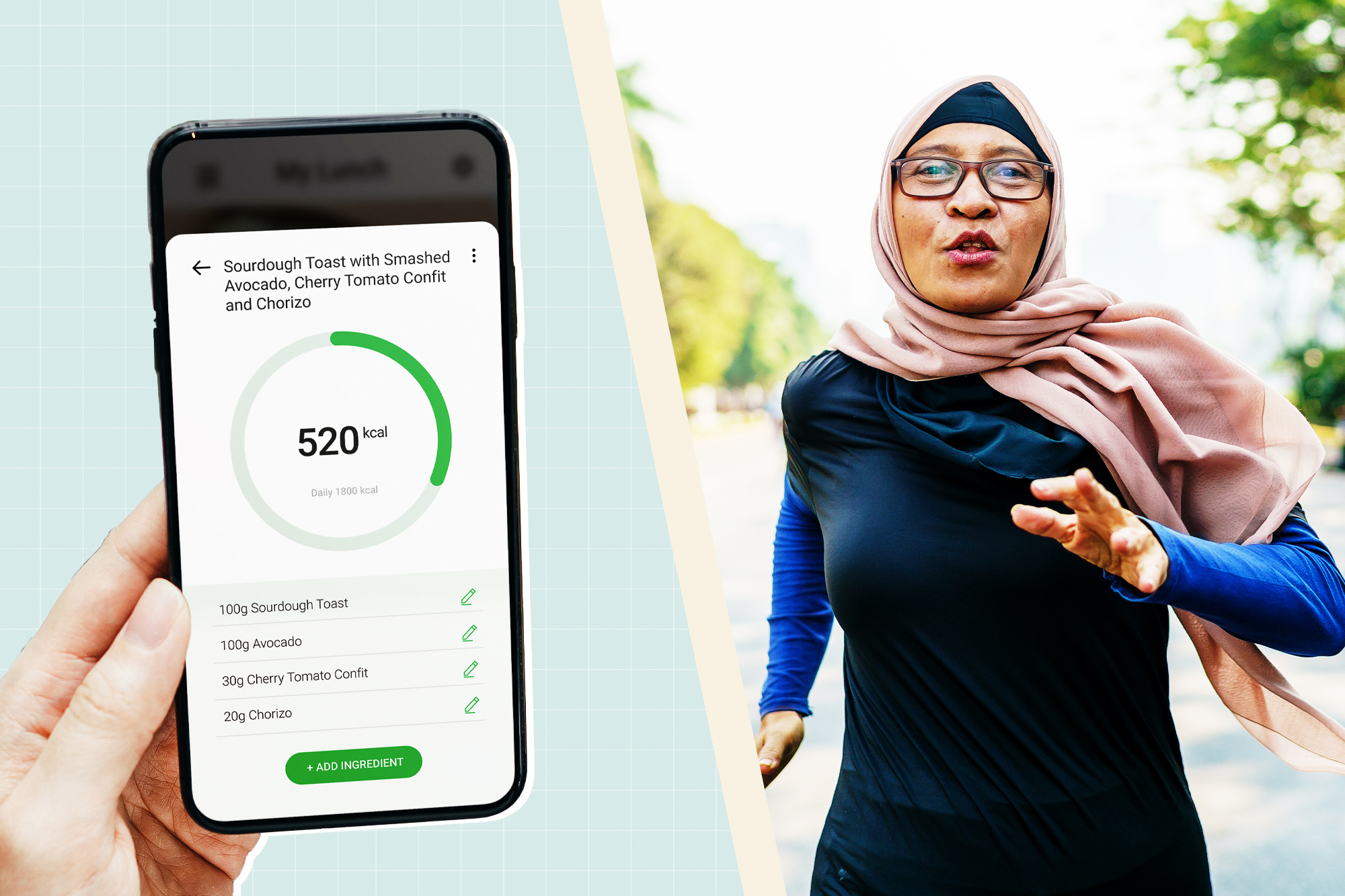 A woman running next to a hand holding a phone with a dieting app on it
