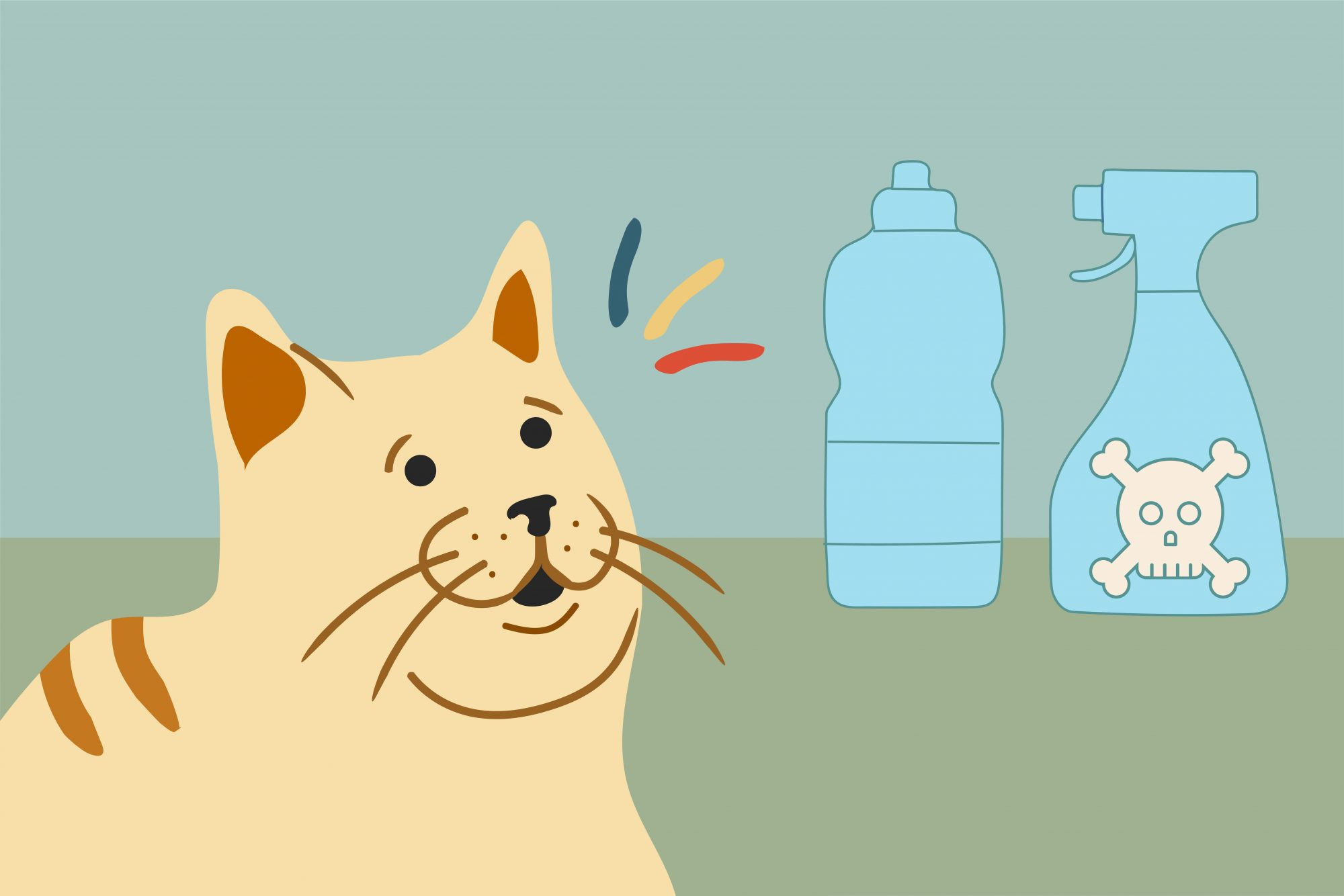 illustration of cat with household toxins