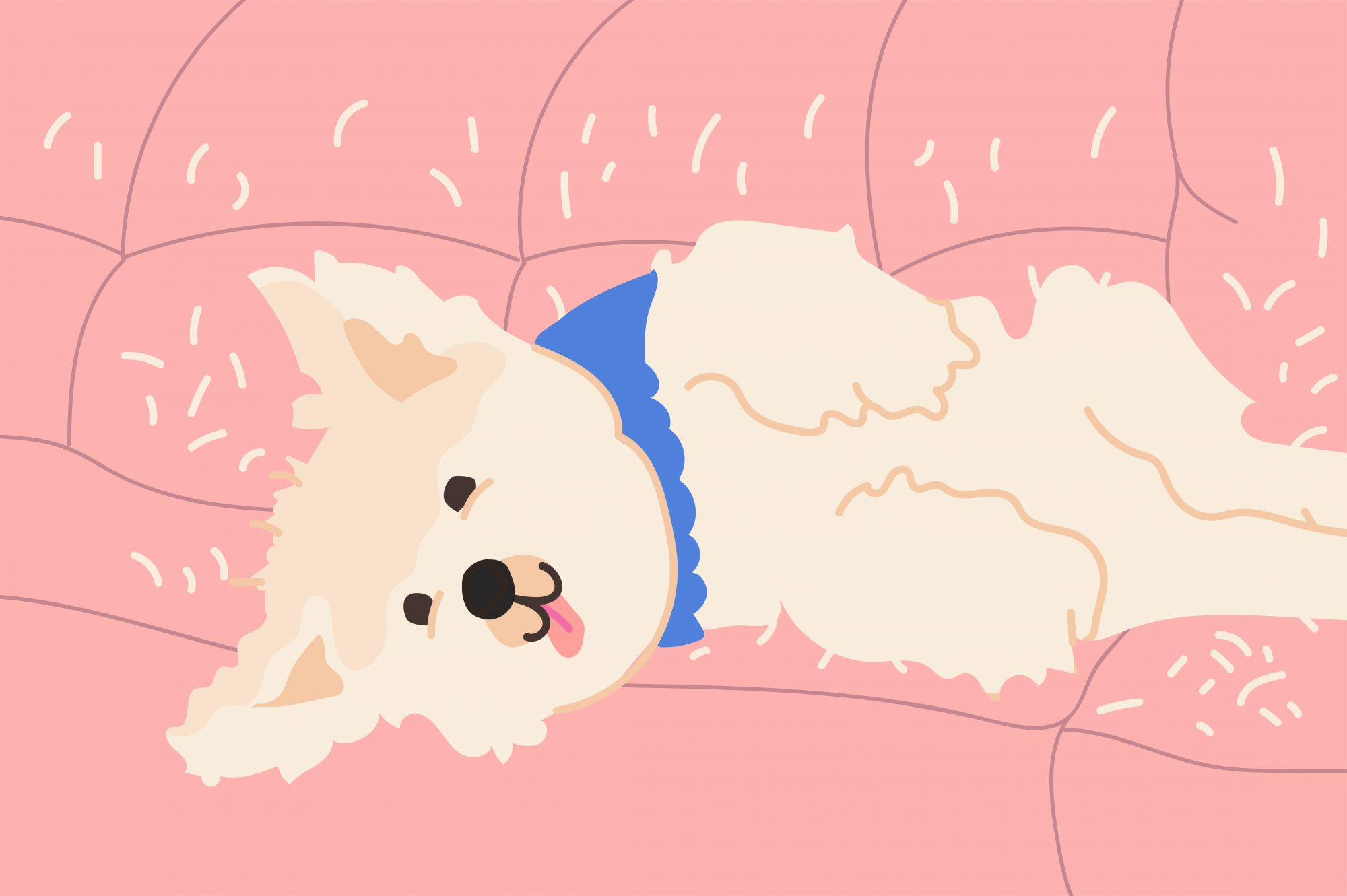 illustration of dog shedding on couch