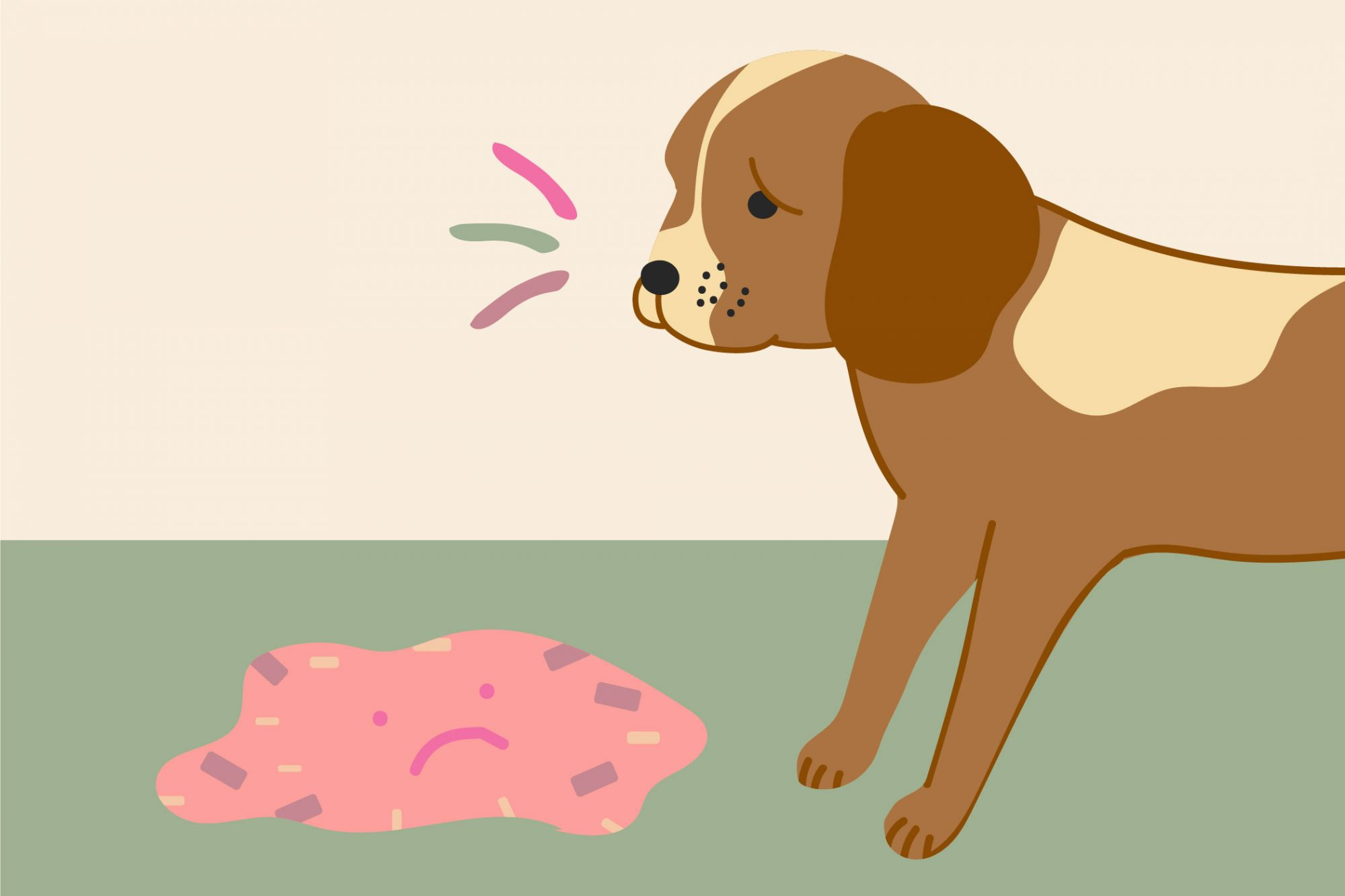 illustration of a dog who has thrown up