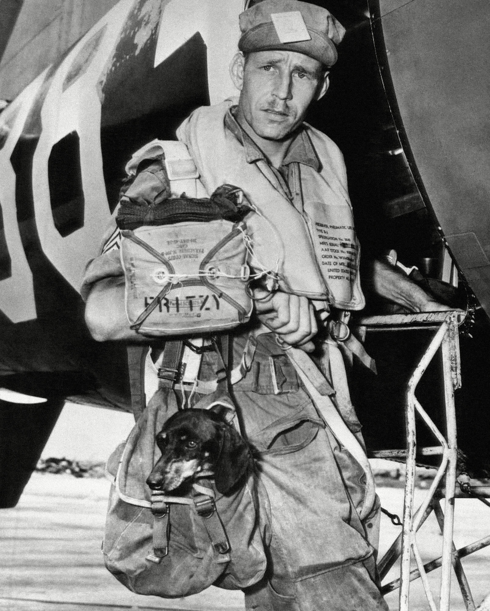 soldier boarding plane with dachshund