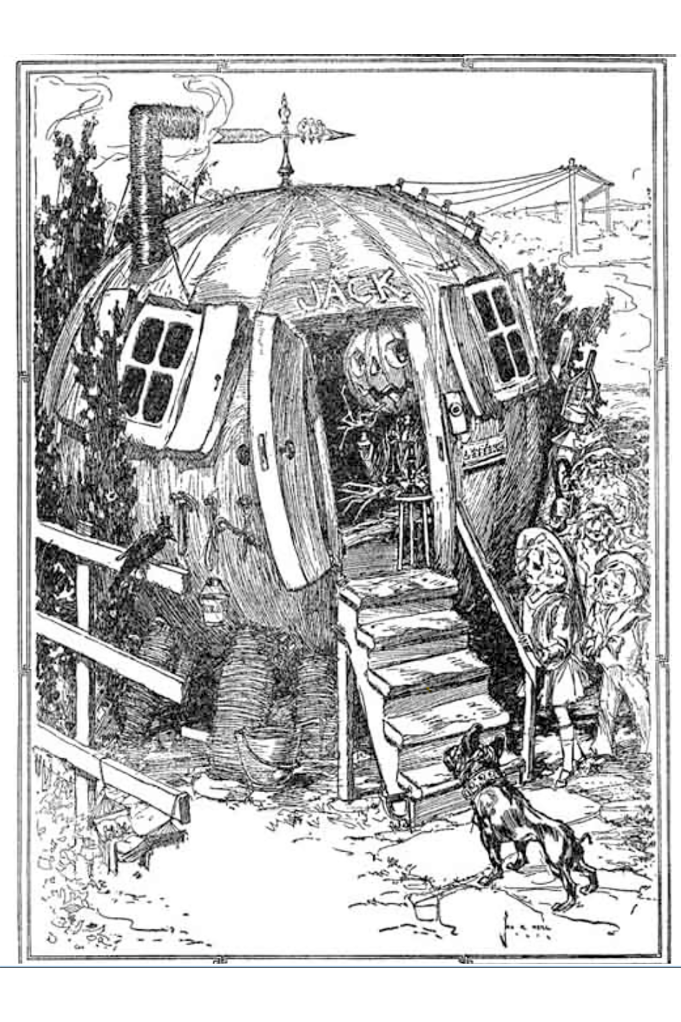 black-and-white pen illustration from The Road to Oz