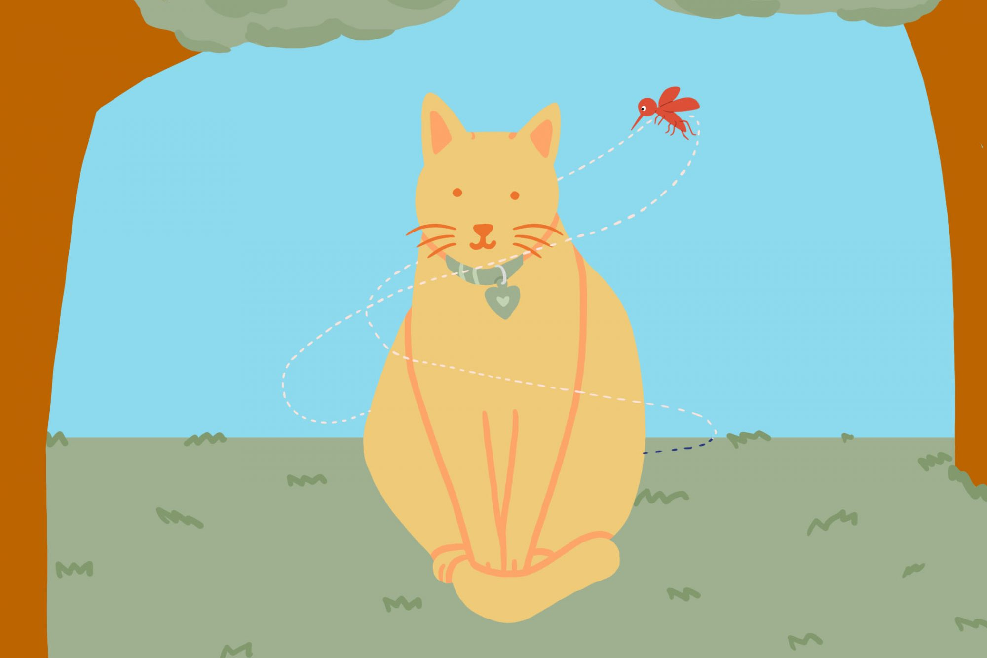 Illustration of mosquito flying around a cat