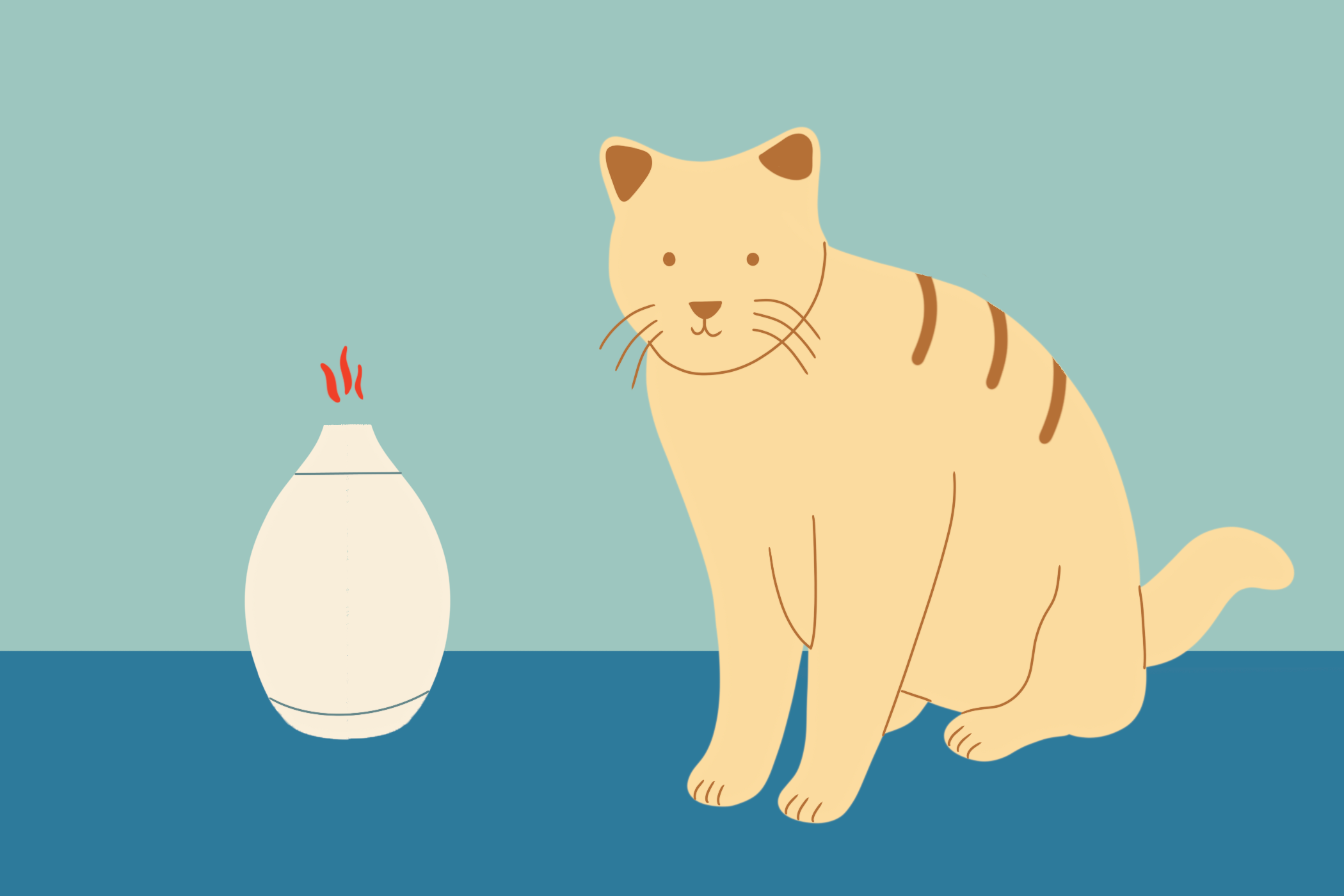 illustration of cat with oil diffuser