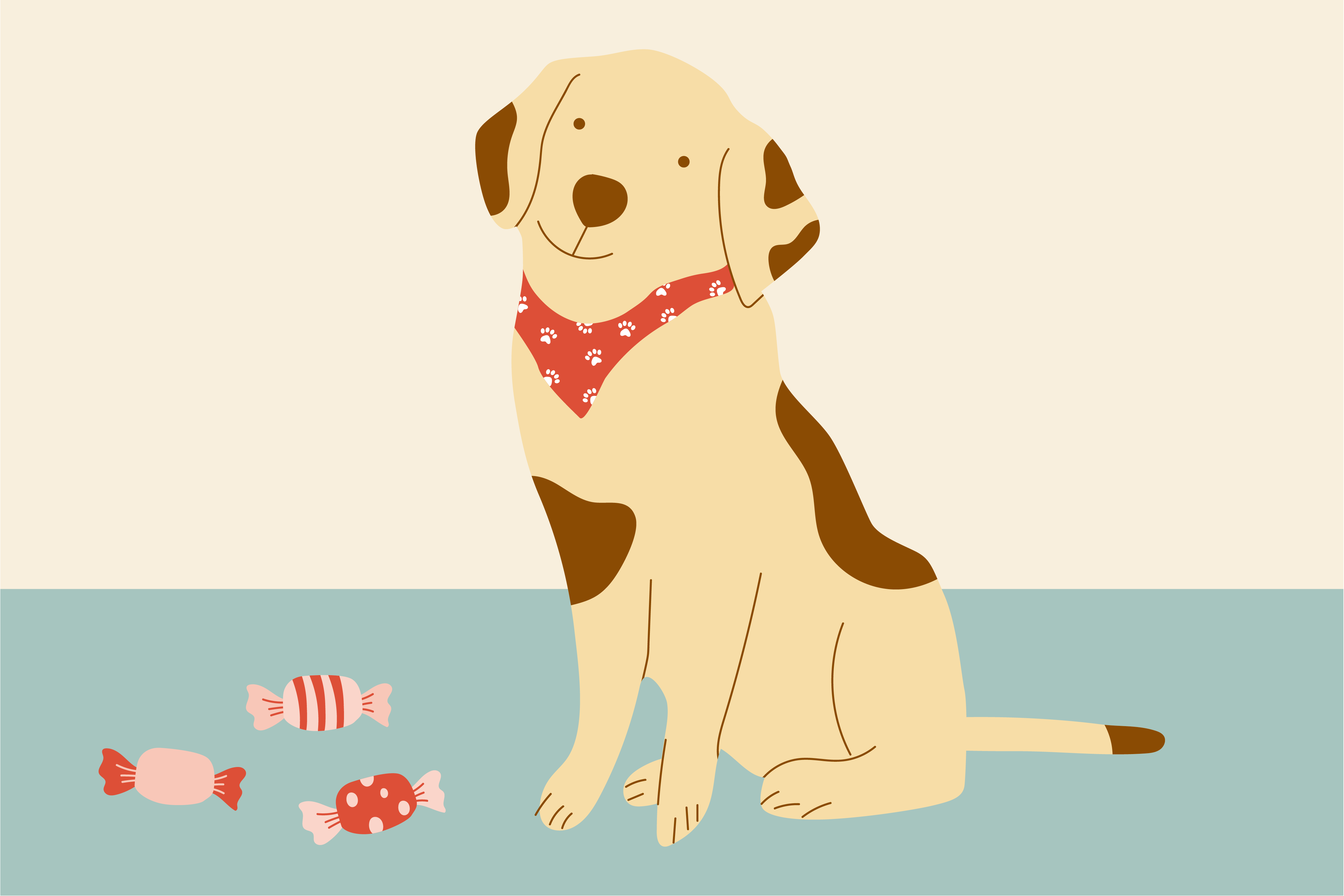 illustration of dog sitting next to candy