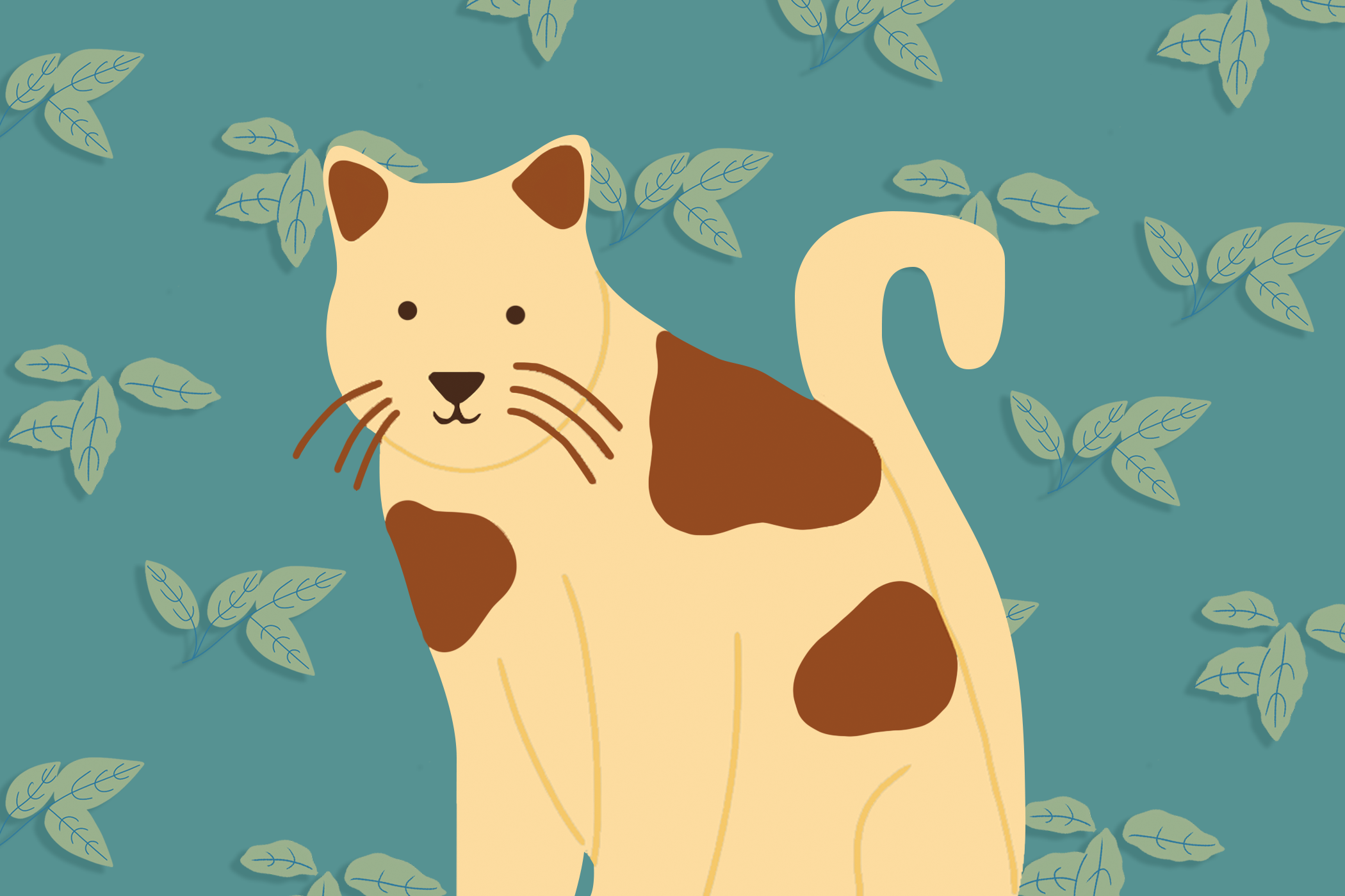 illustration of cat with botanical background