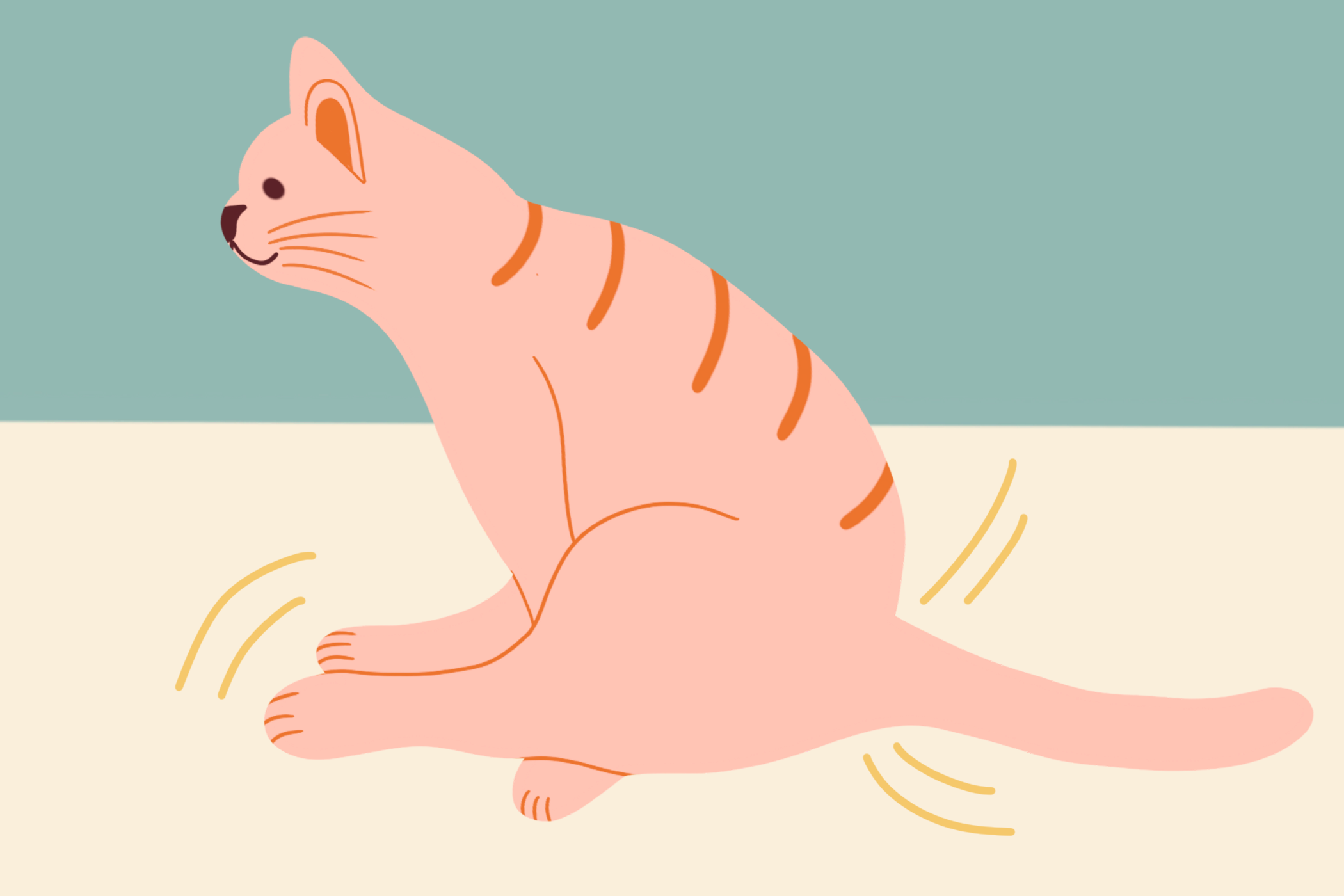 illustration of cat scooting across the floor