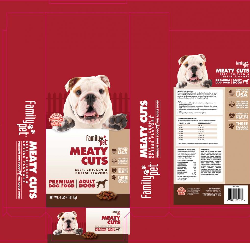 Packaging for Family Pet Meaty Cuts Beef, Chicken & Cheese