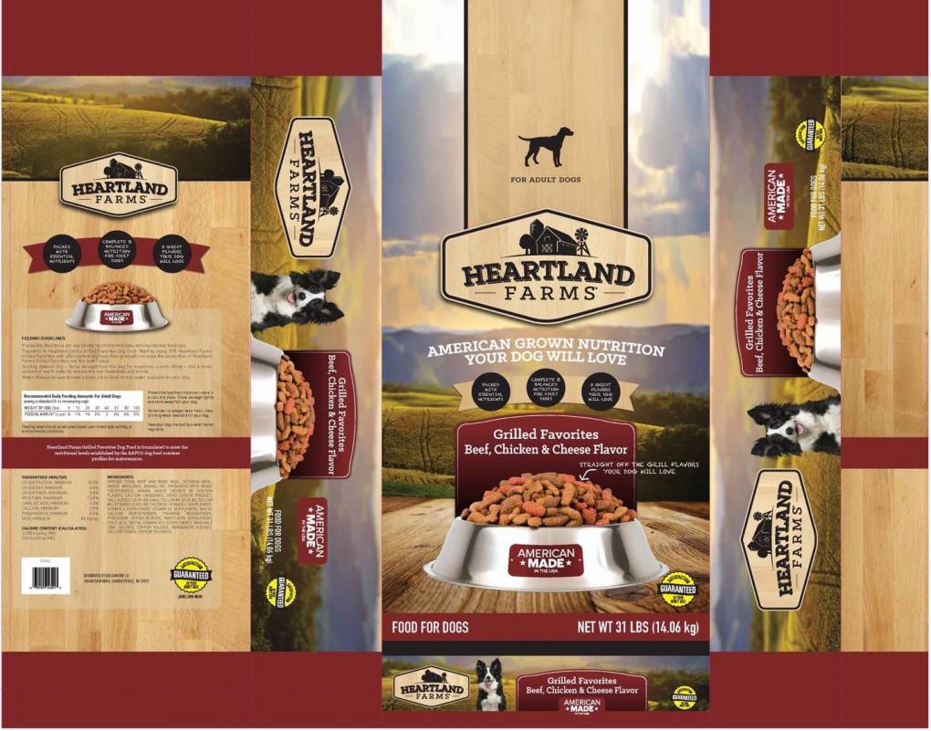 Packaging for Heartland Farms Grilled Favorites Beef, Chicken & Cheese