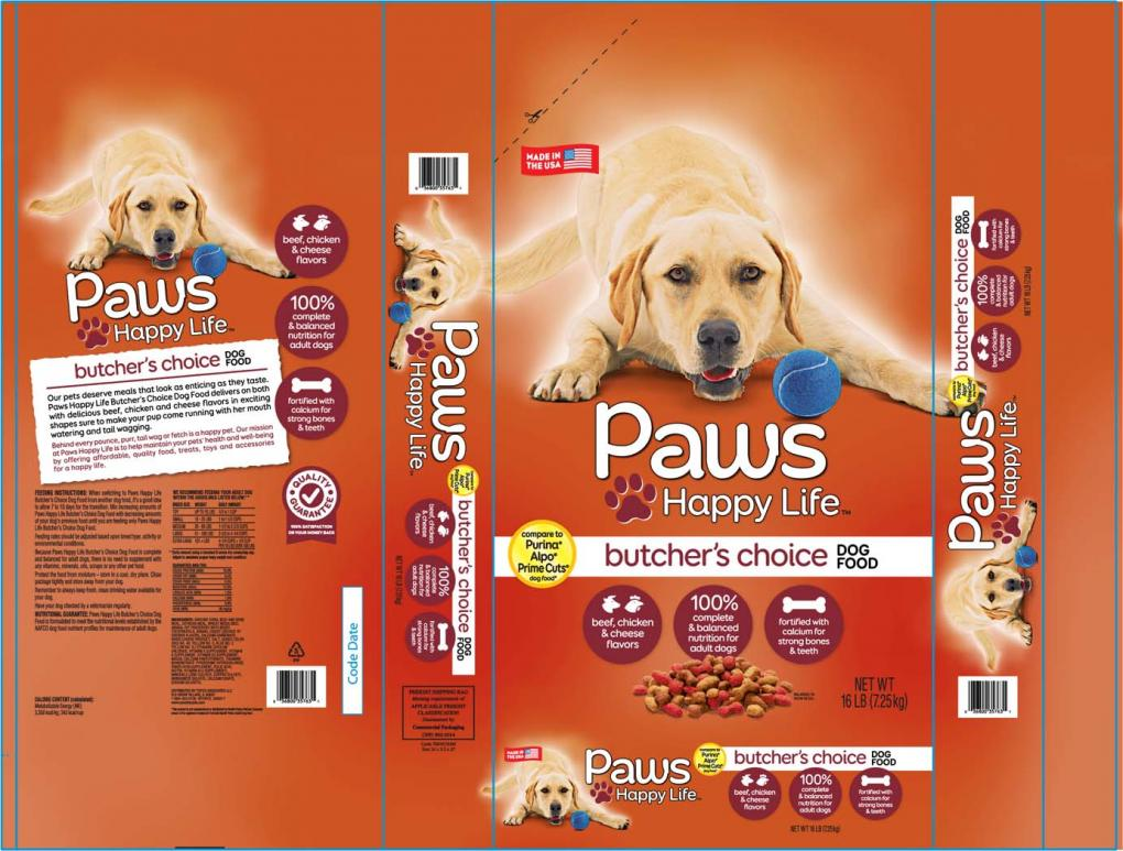 packaging for Paws Happy Life Butcher's Choice Dog Food