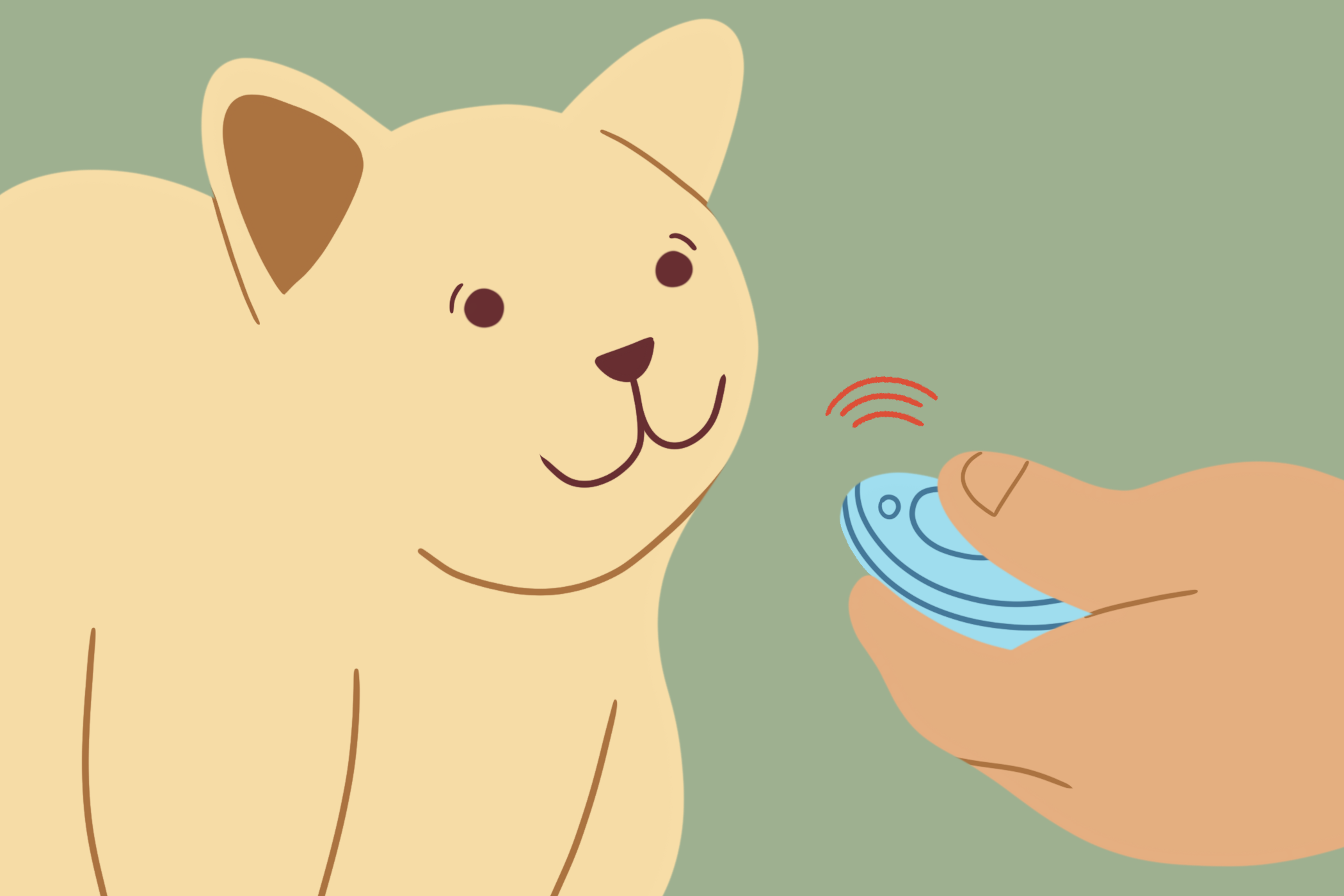 illustration of person using a clicker for cat training