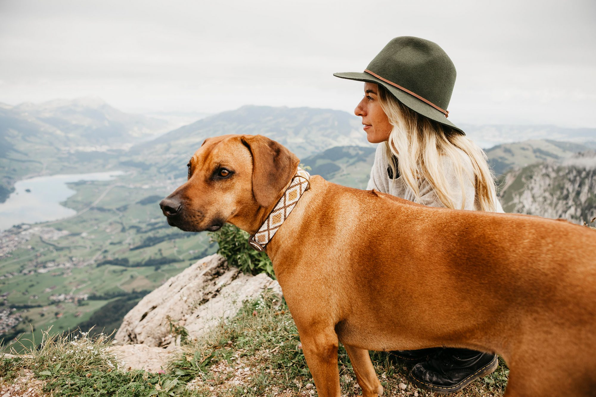 woman and dogs overlooking mountain