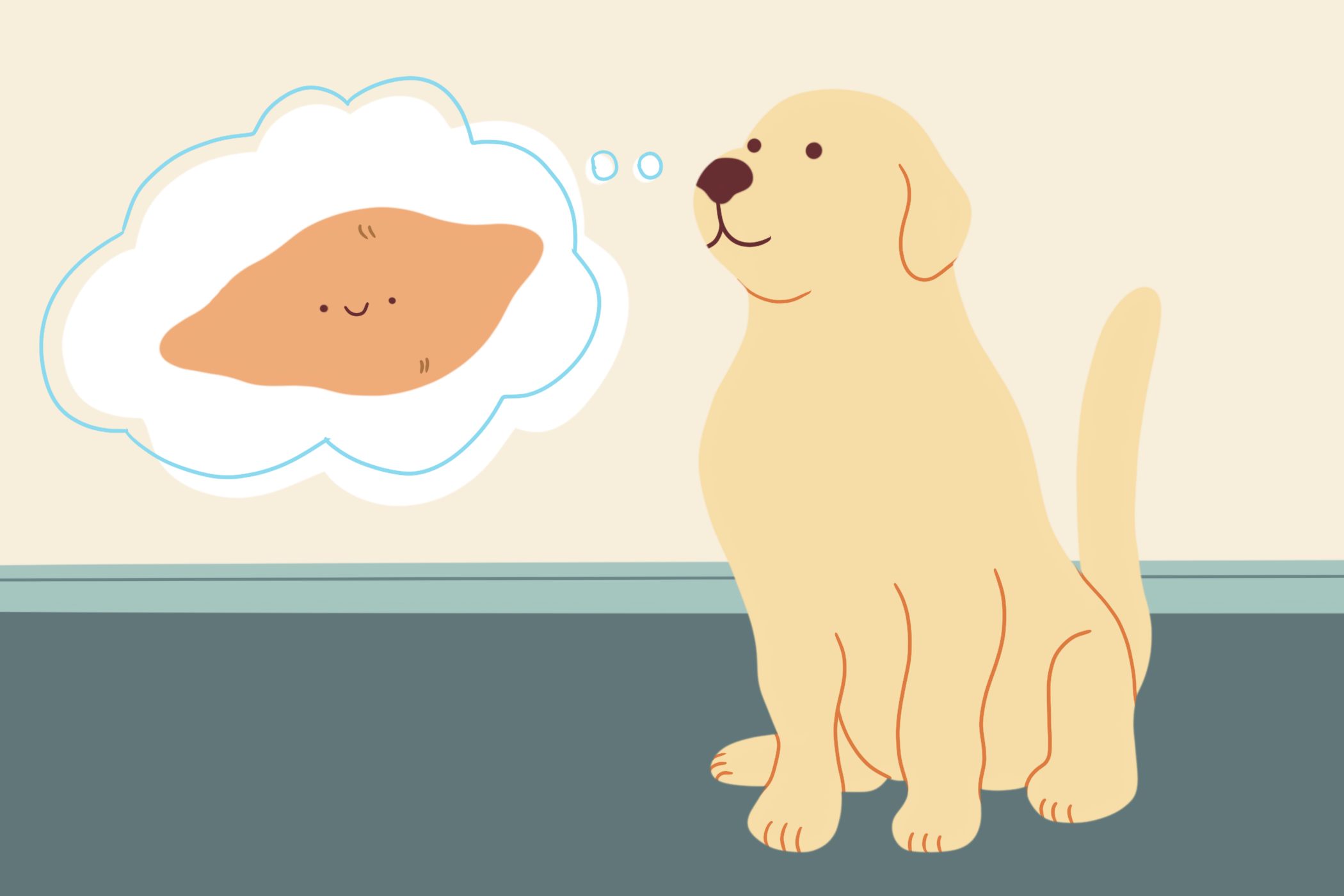 illustration of dog thinking about a sweet potato