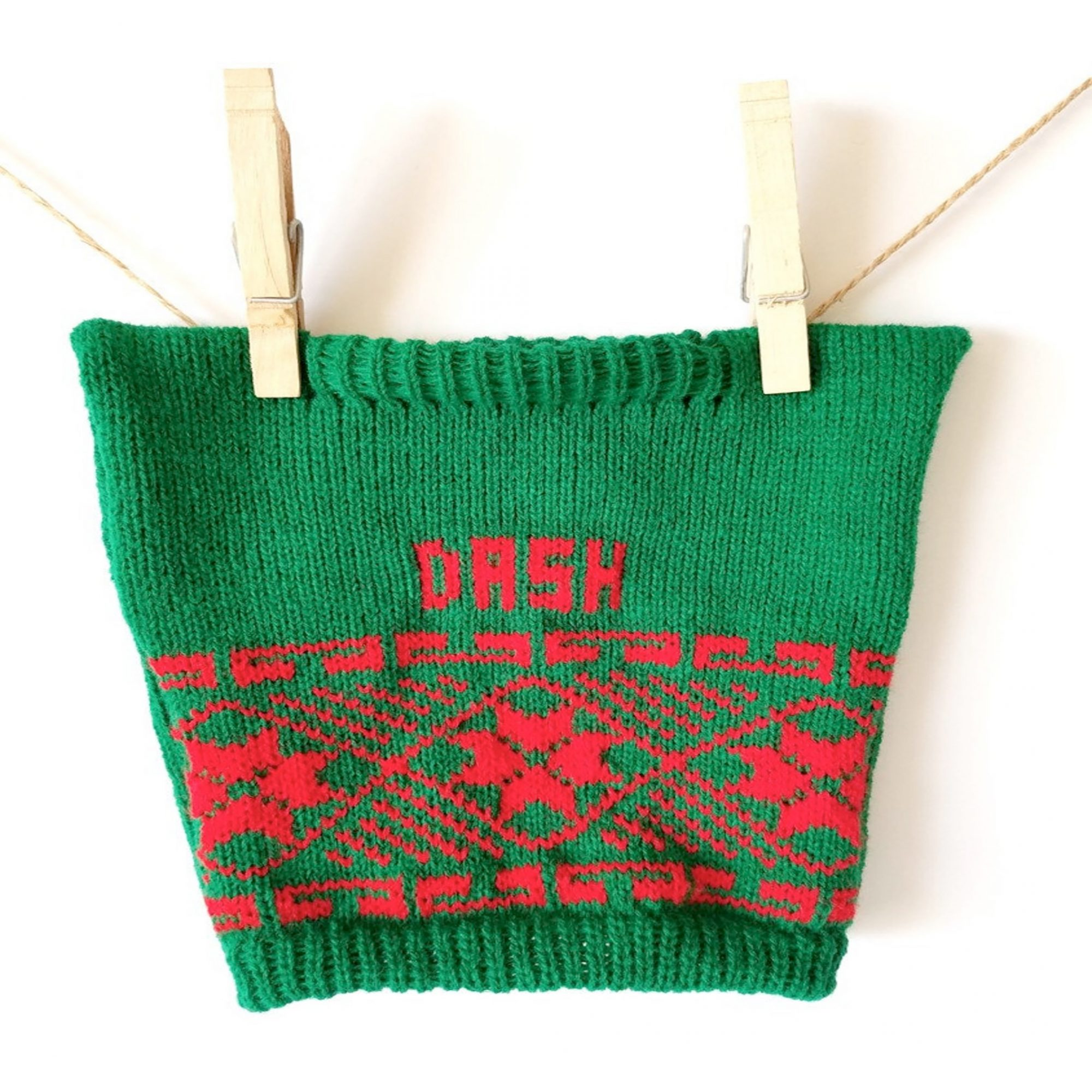 Personalized Dog Sweater With Poinsettia Trim