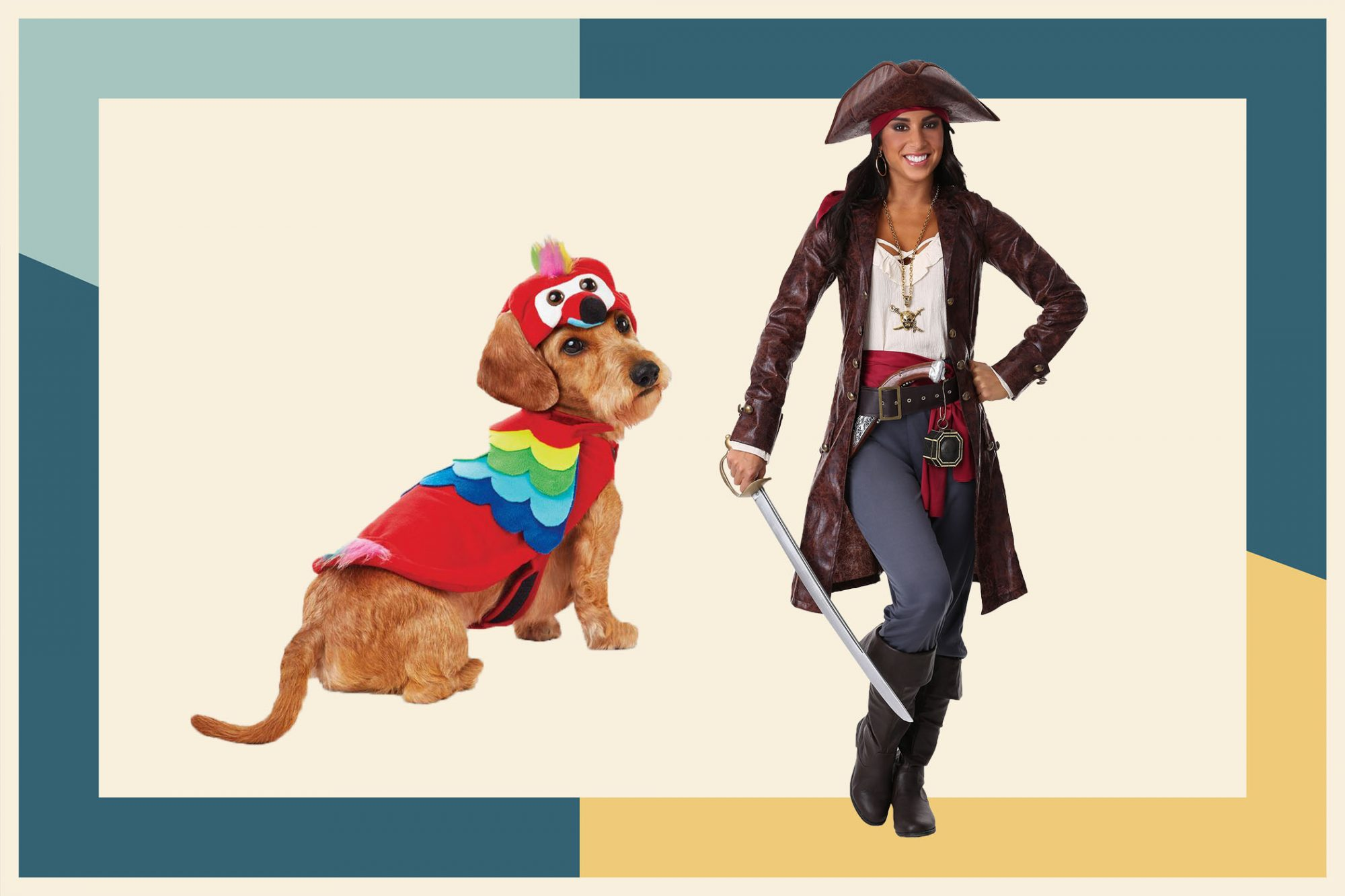 Pirate and parrot costume for people and dogs