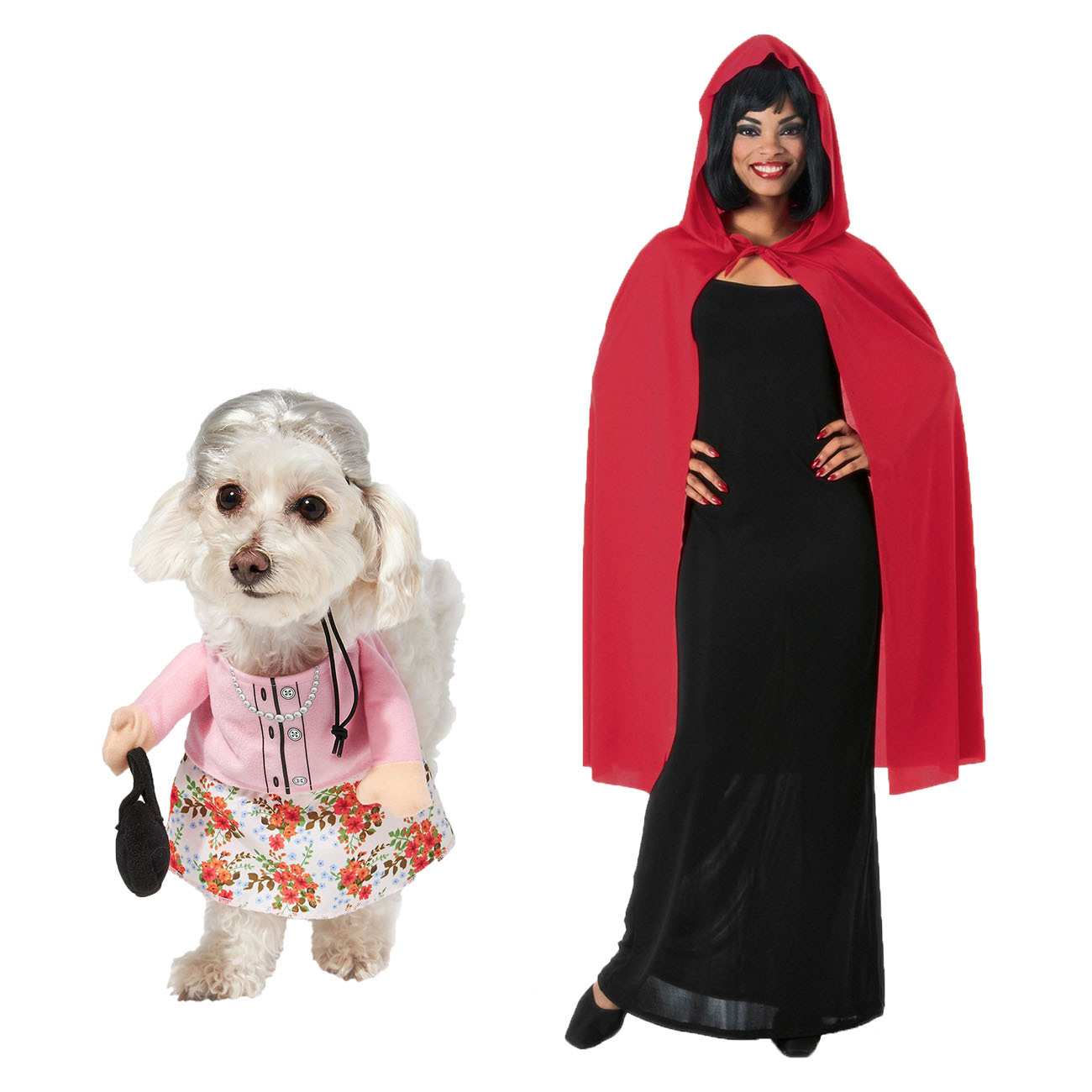 grandma pet Halloween costume and Little Red Riding Hood cape costume for people