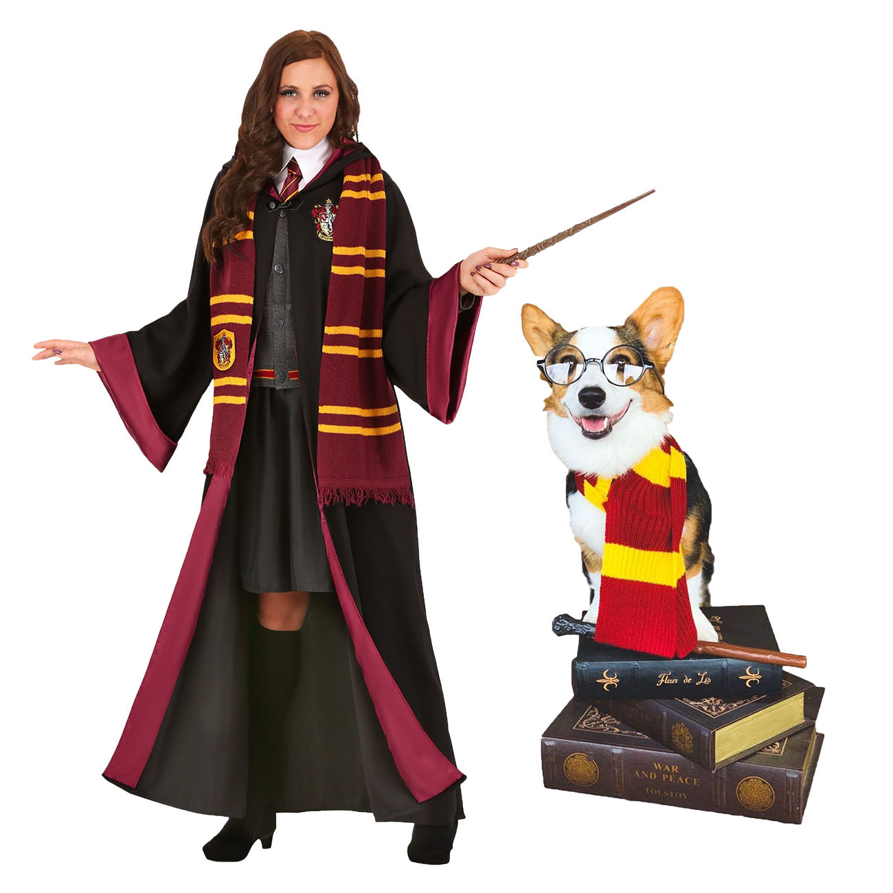 Harry Potter dog scarf and Hermione adult womens Halloween costume