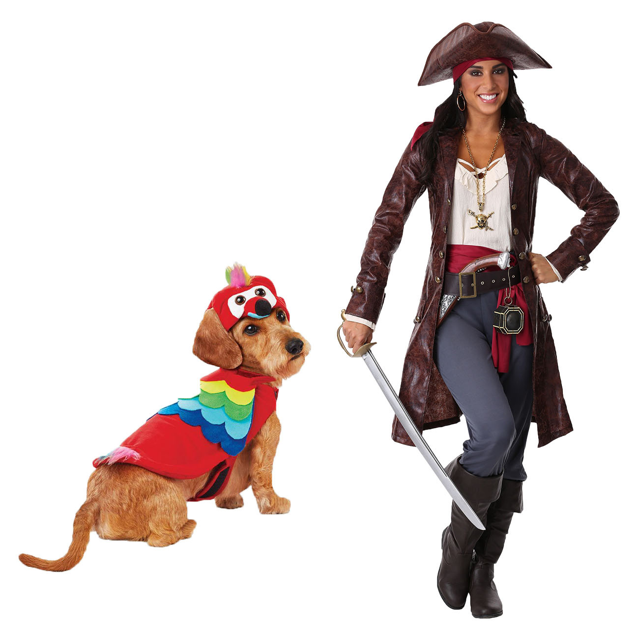 parrot dog costume and adult pirate costume for Halloween