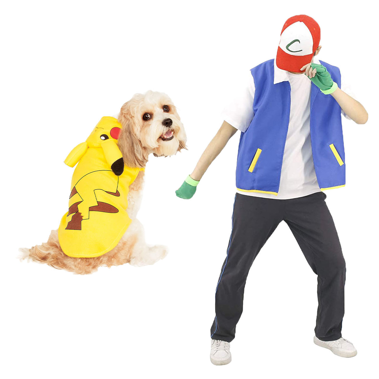 Ash and Pikachu dog and owner Halloween costumes
