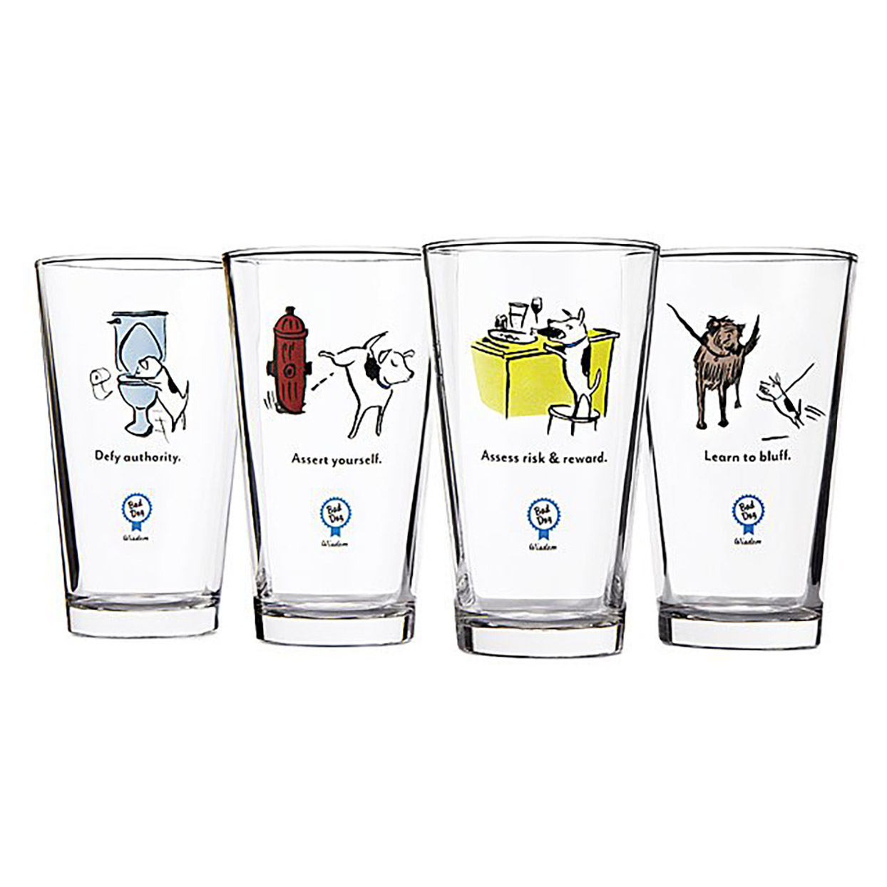Funny dog comic glasses for beer or cocktails