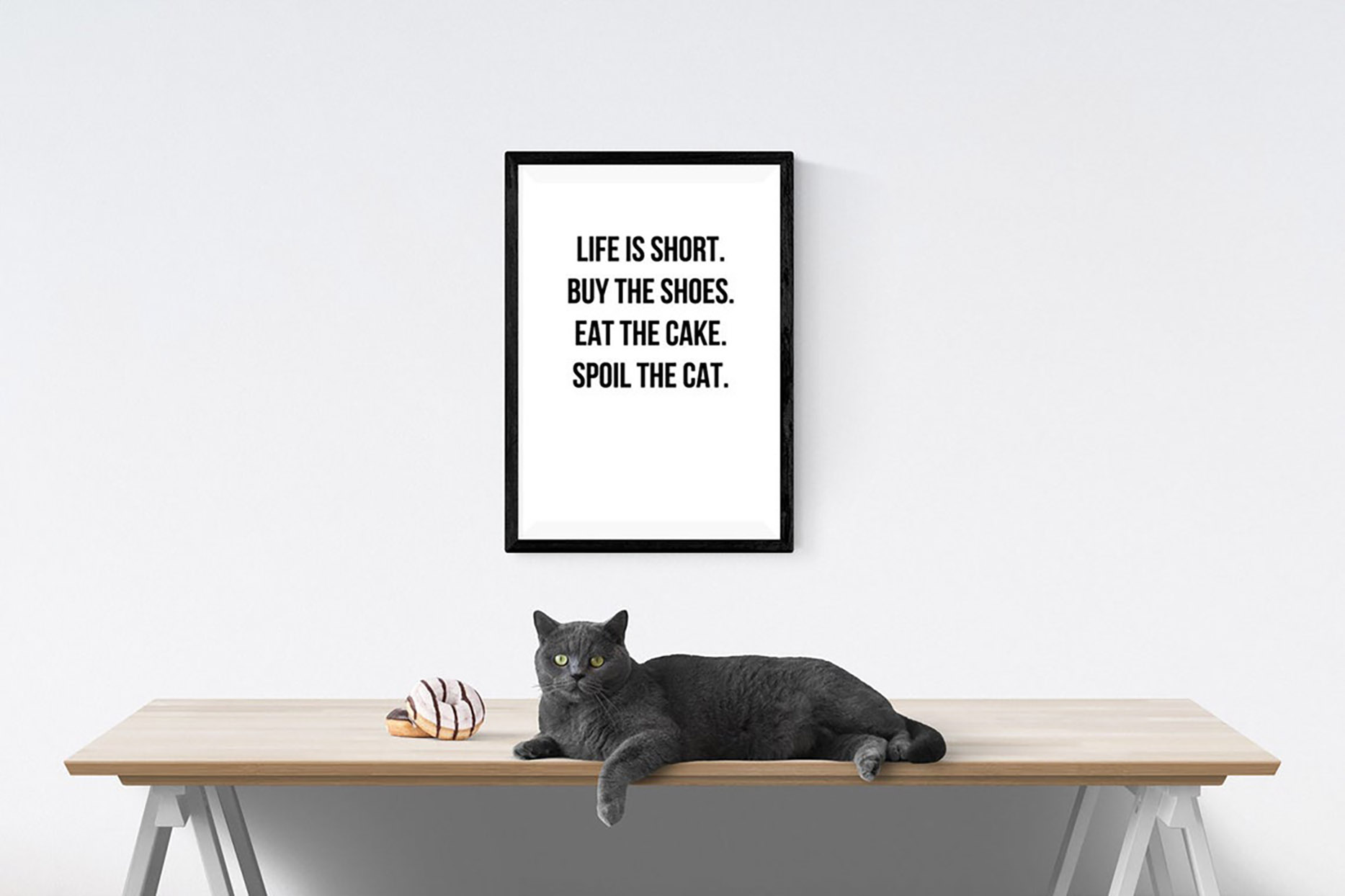 Funny cat quote print home decor gift poster reads Life is Short, buy the shoes, eat the cake, spoil the cat