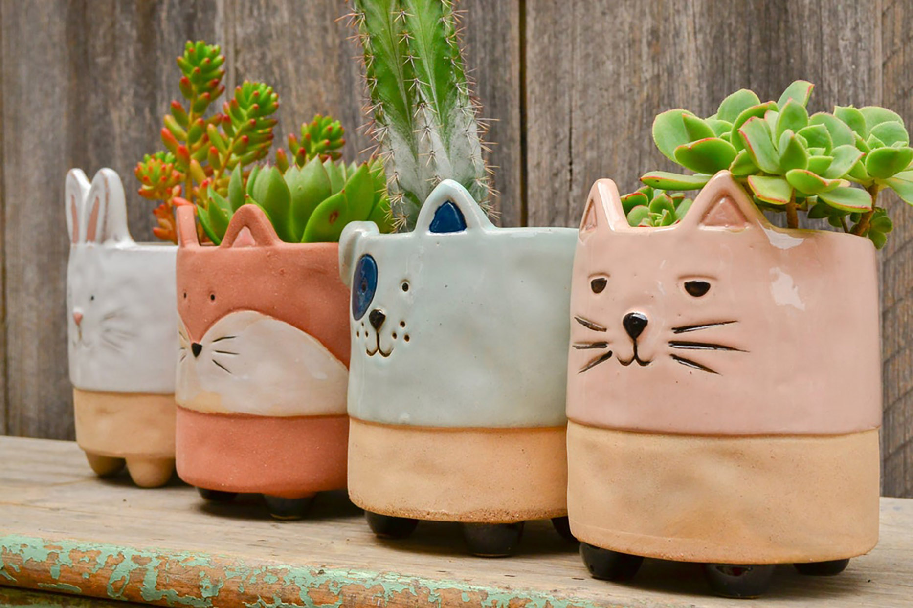 Ceramic colorful footed animal planters as fox rabbit cat dog with succulants