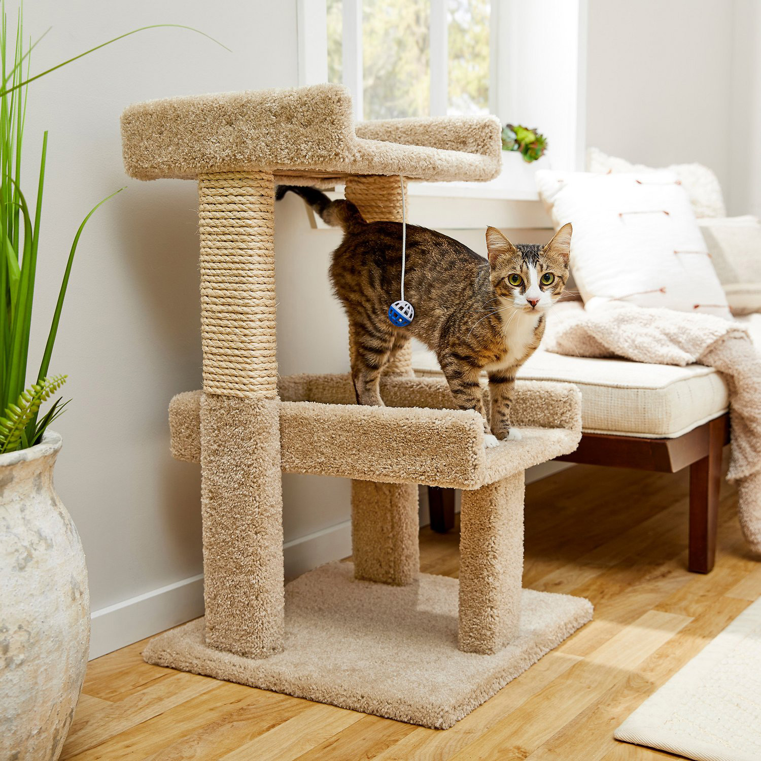 Frisco 32-in Real Carpet Wooden Cat Tree