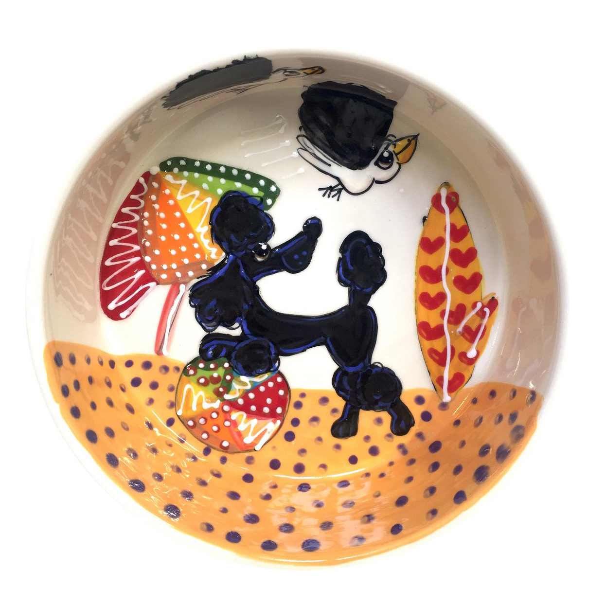 catoon illustrated custom dog bowl
