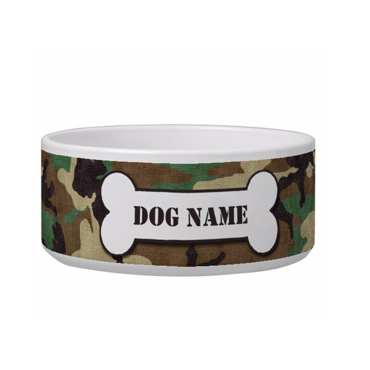 personalized army camouflage dog bowl
