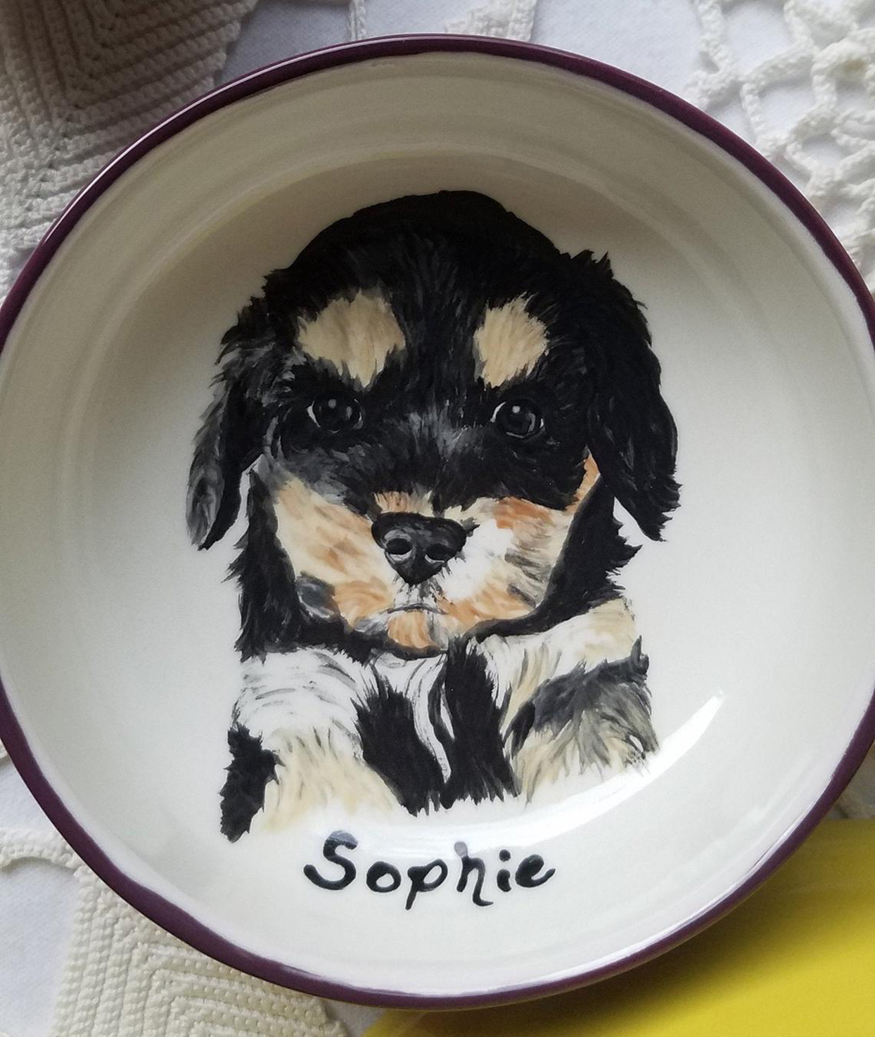 pet portrait custom dog bowl