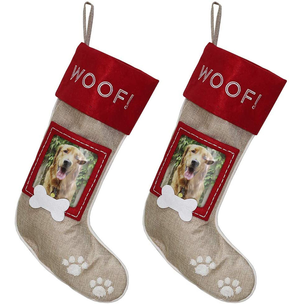 burlap-pet-christmas-stockings-with-picture-frame
