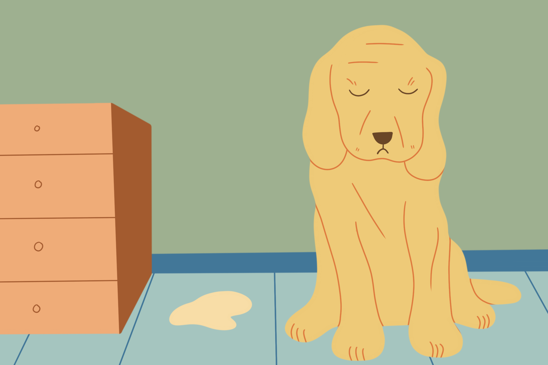 illustration of dog sitting next to his accident