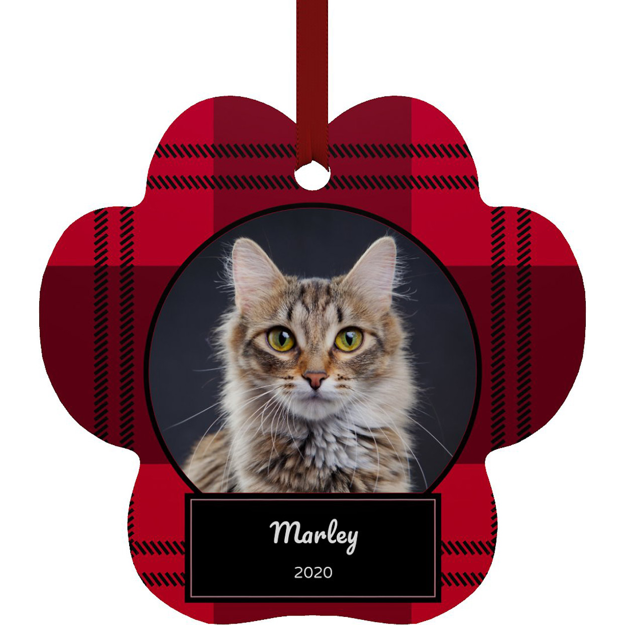 frisco-personalized-plaid-paw-shape-metal-ornament