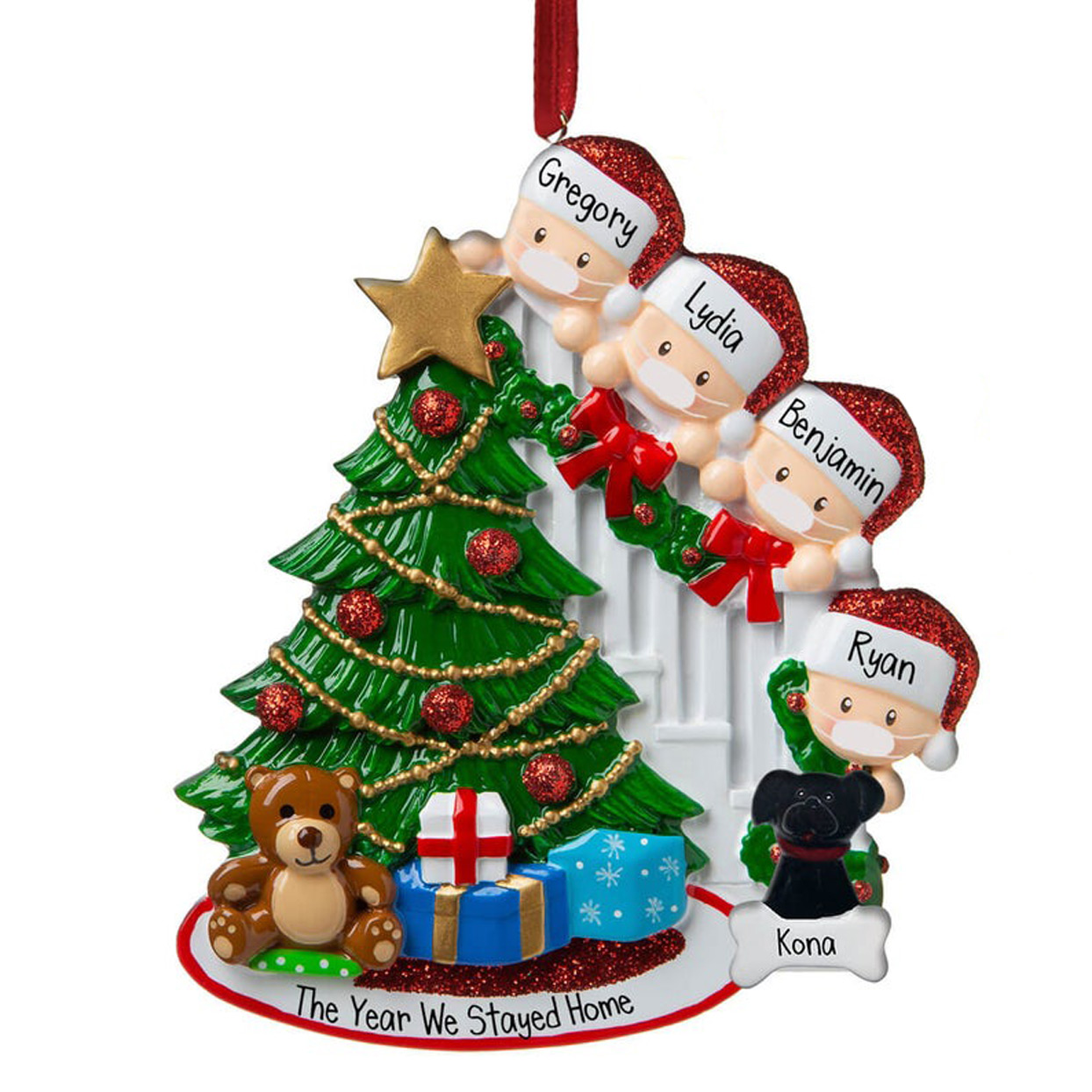 peeking-around-tree-family-with-face-masks-ornament