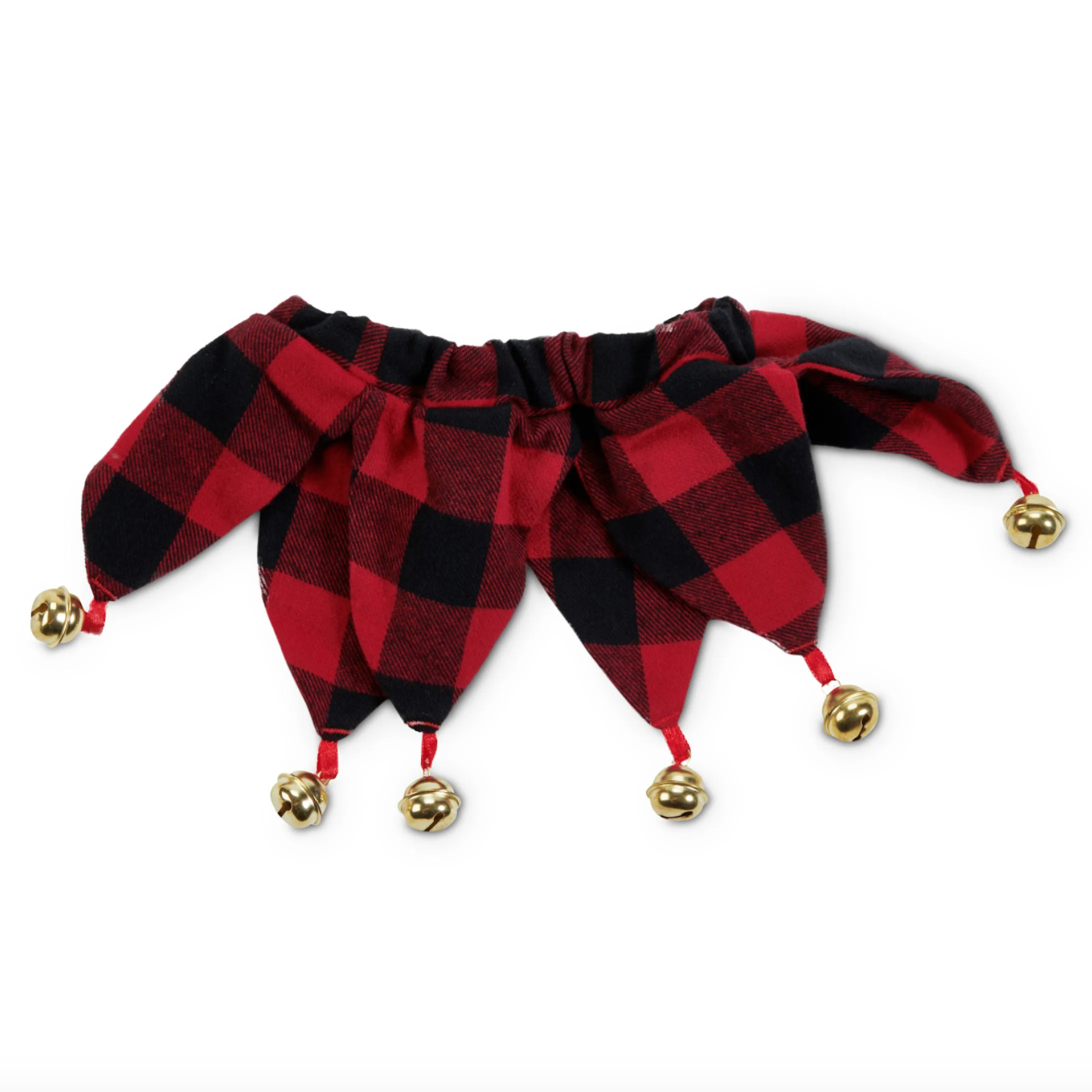 holiday-tails-santas-sleigh-bells-red-buffalo-check-jester-dog-collar