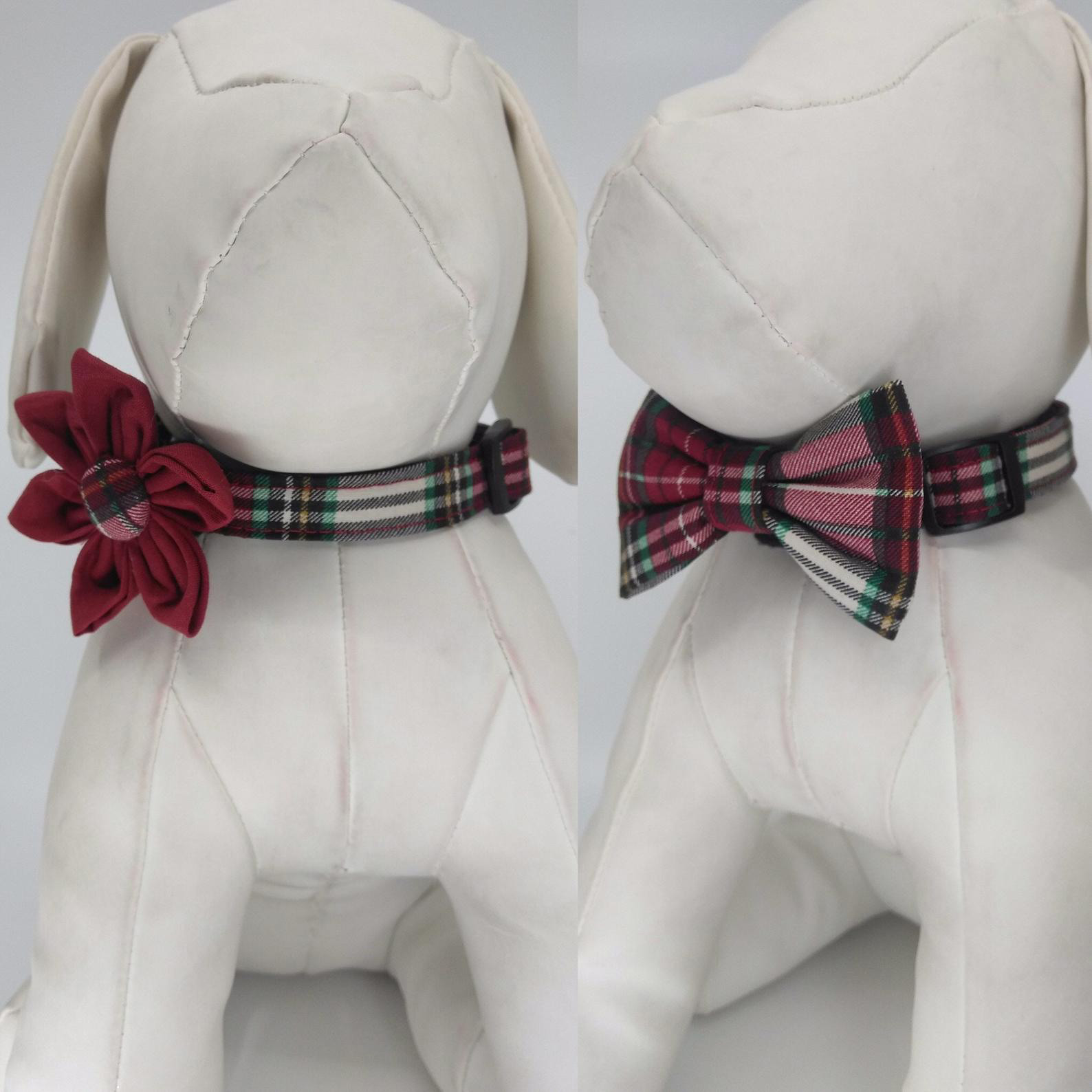 red-and-green-plaid-christmas-dog-collar-with-flower-or-bow-tie
