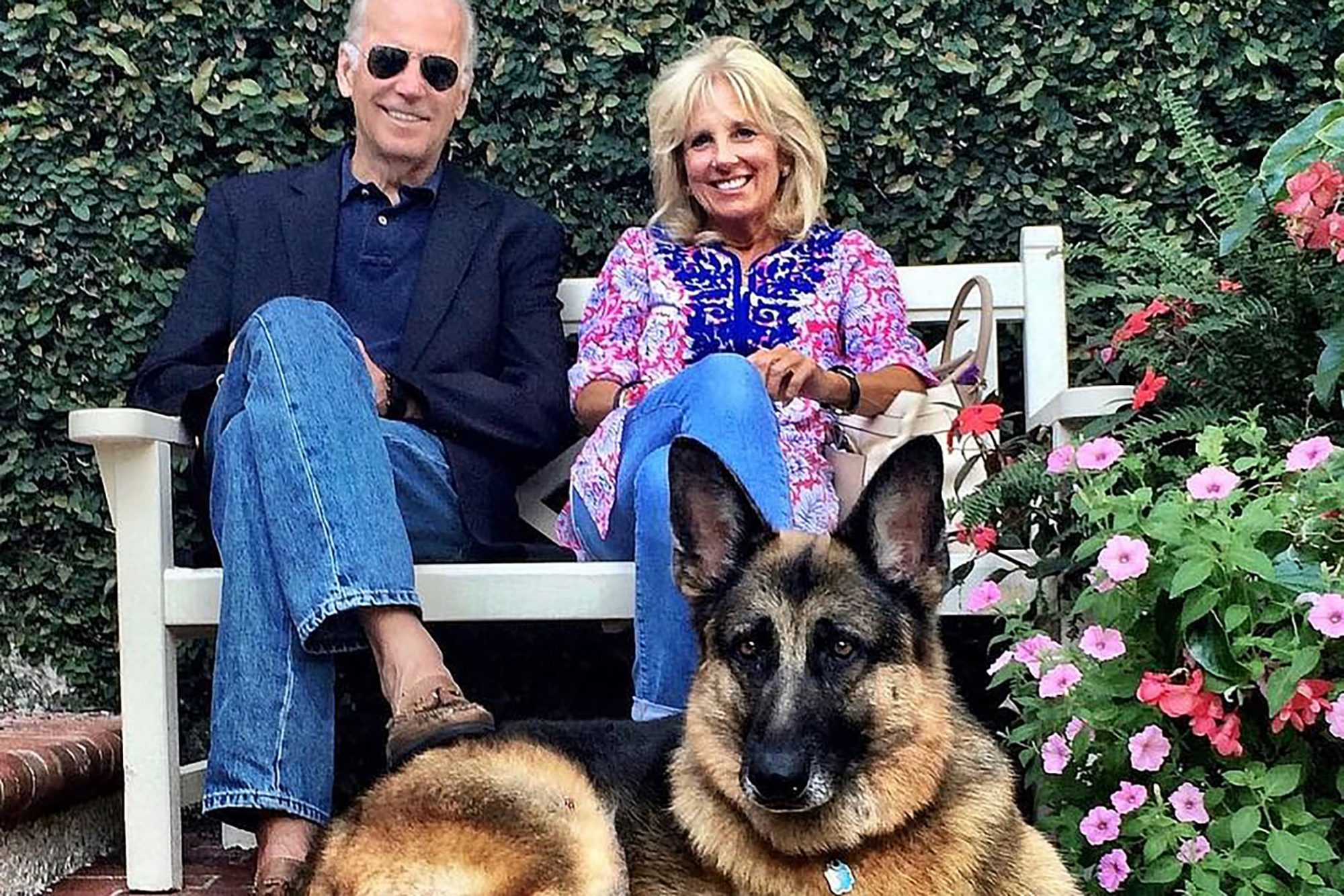 Joe and Jill Biden with Champ