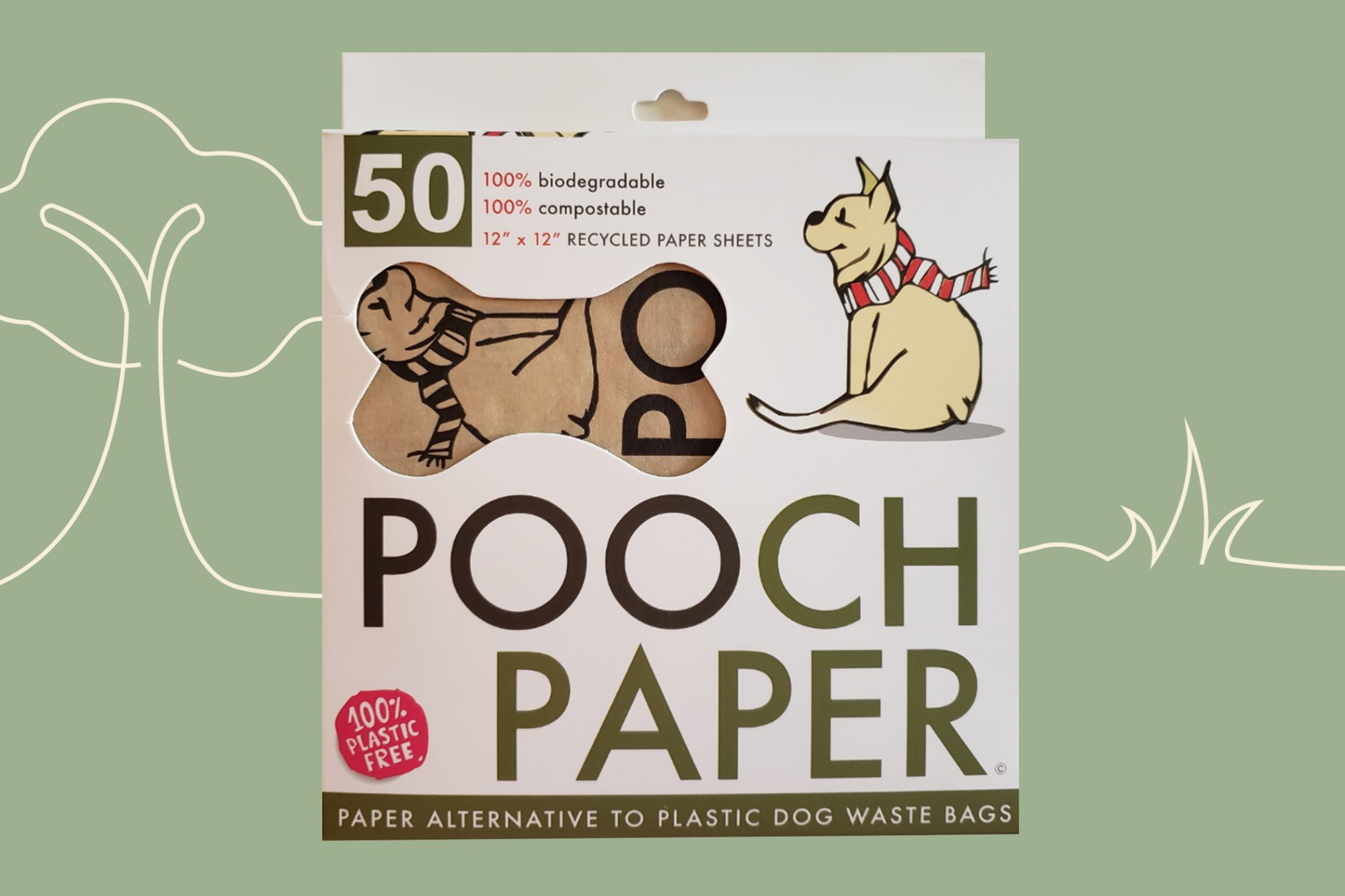 pooch paper package, a paper alternative to plastic dog waste bags