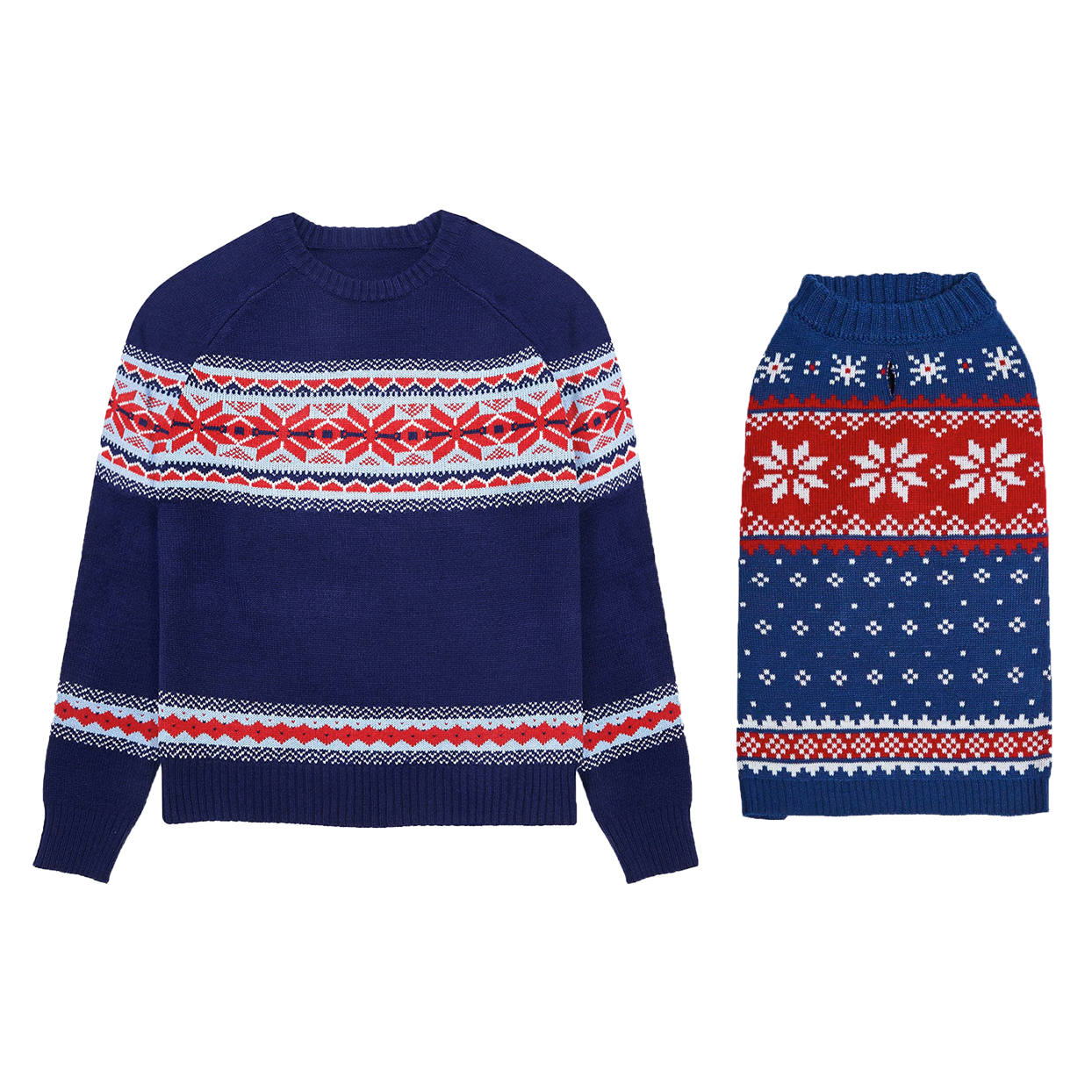 blue-snowflake-matching-sweaters