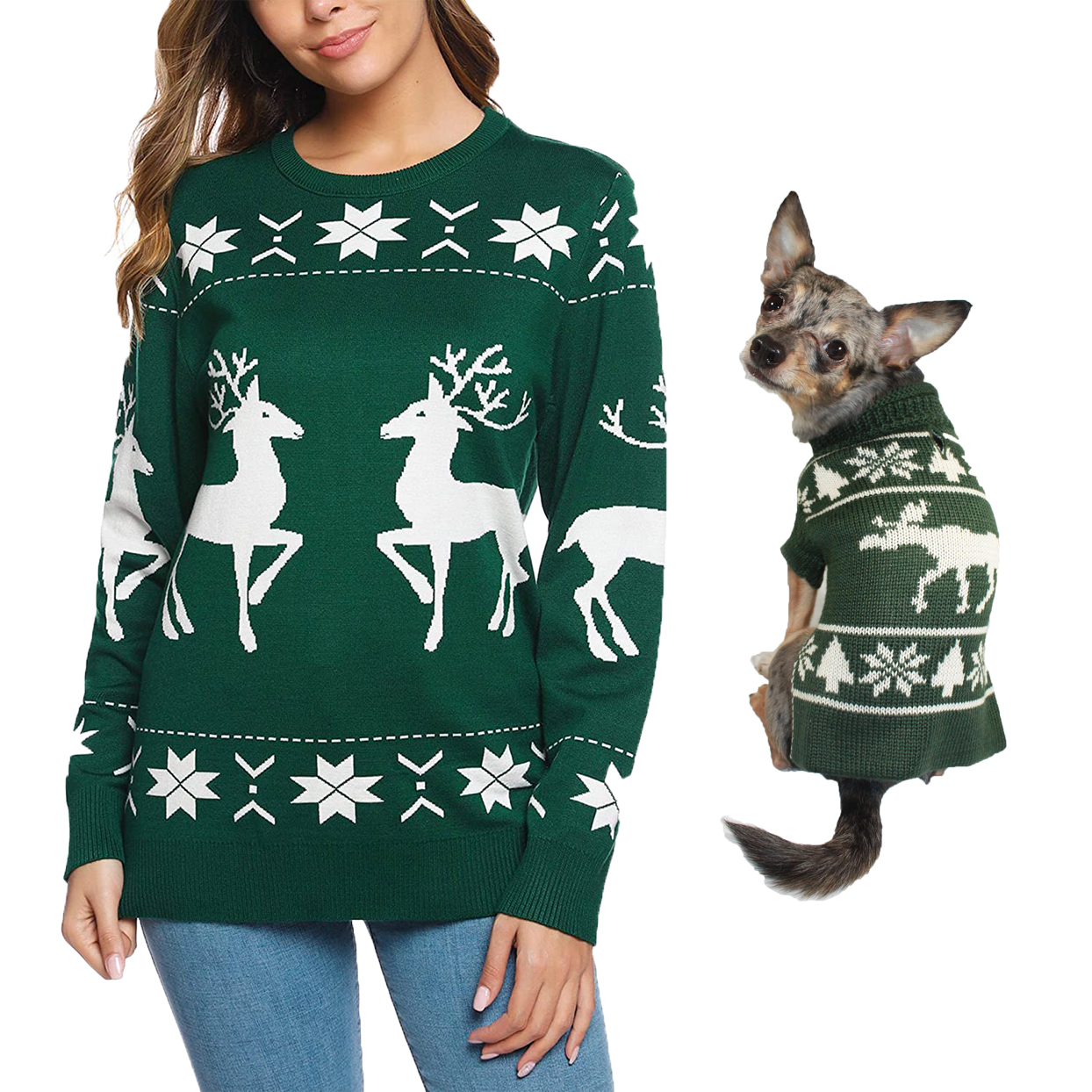 green-reindeer-matching-sweaters