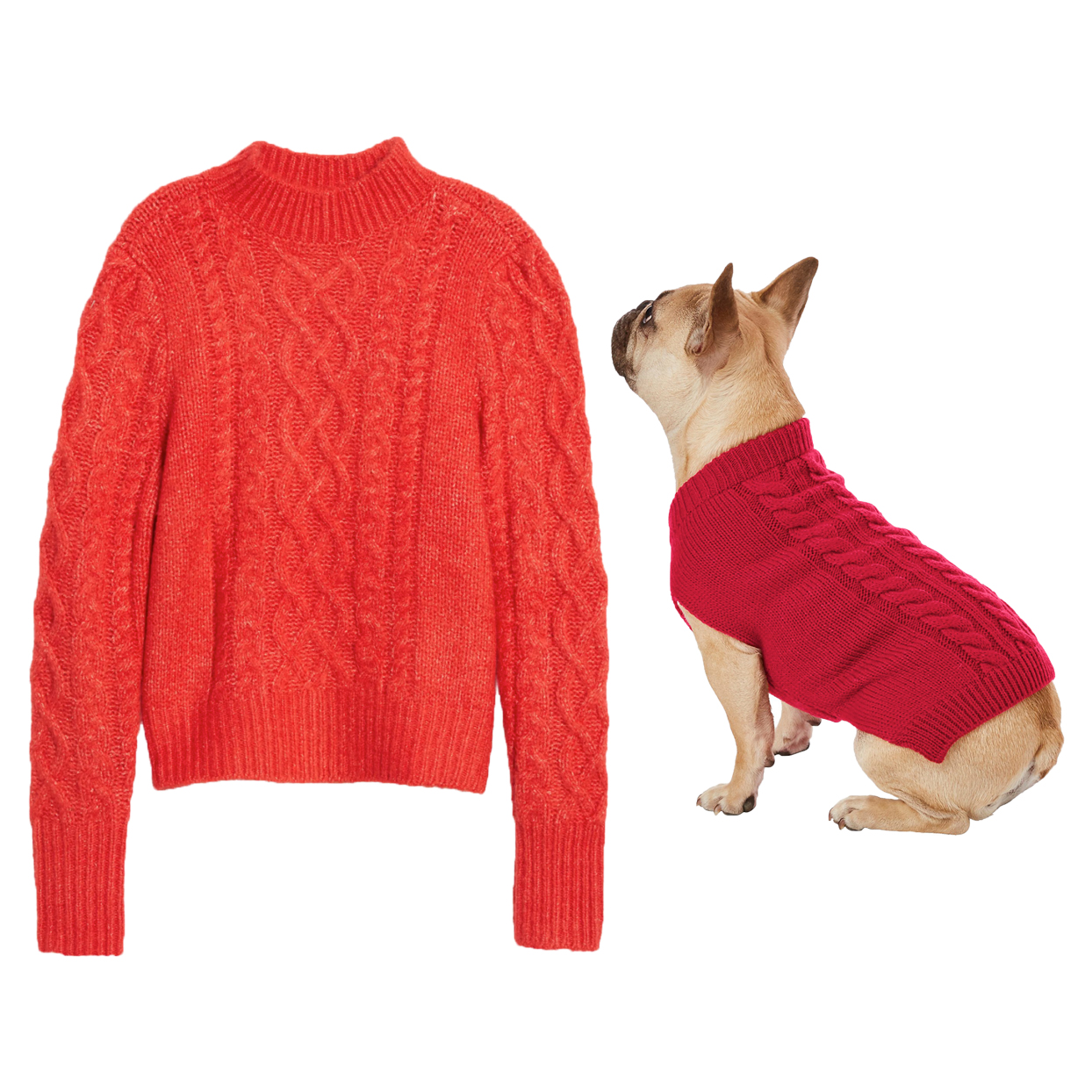 red-cable-knit-matching-sweaters
