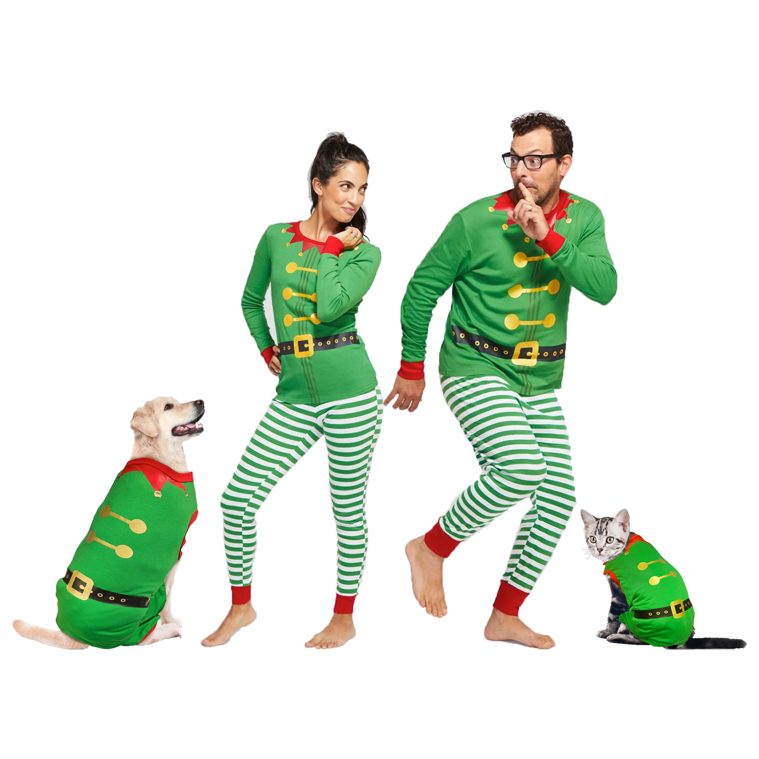 holiday-elf-stretch-dog-and-cat-matching-family-pajamas
