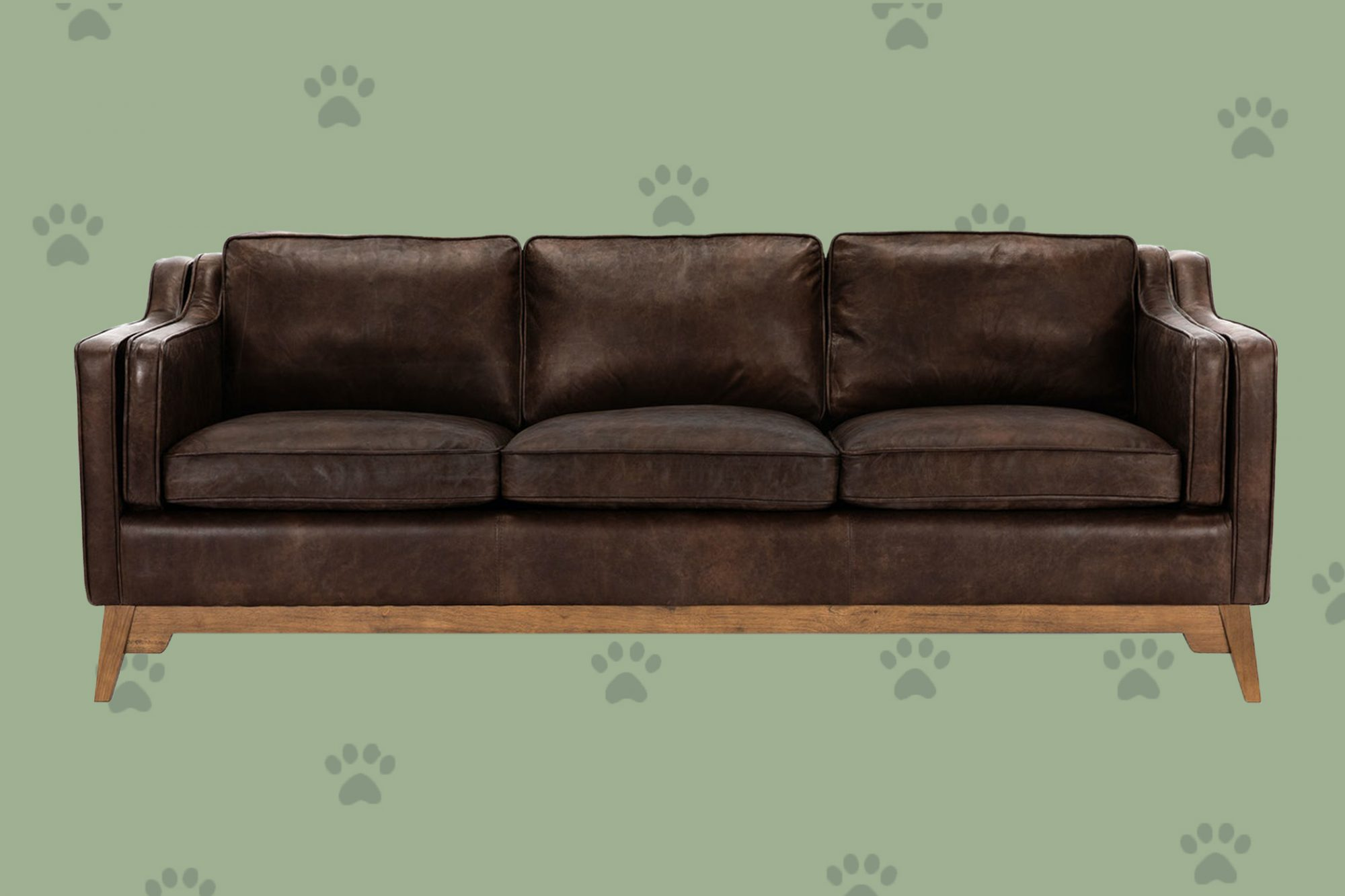 brown leather couch with wood frame