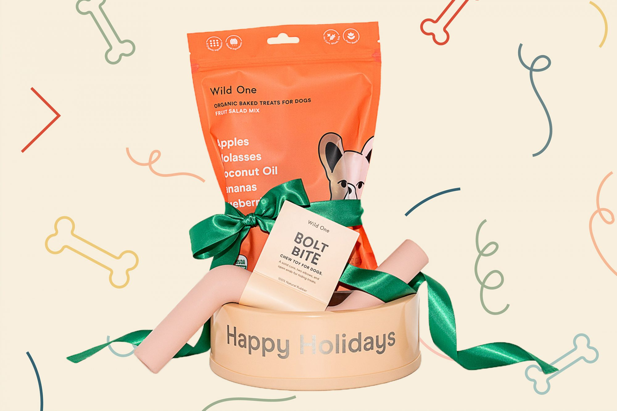 dog bowl, chew, and treat gift set