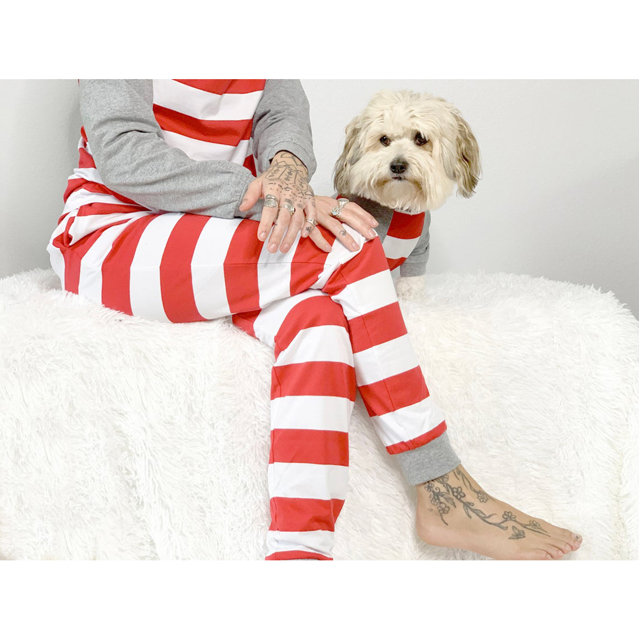 candy cane matching pet owner pajamas