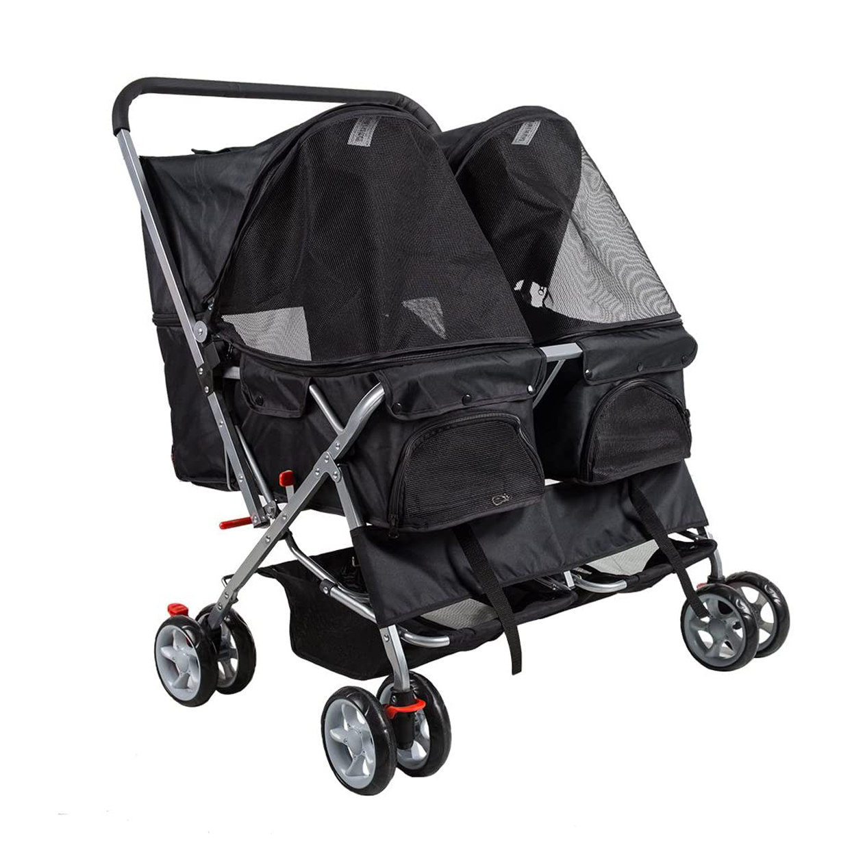 dporticus-4-wheel-pet-stroller-foldable-two-seater